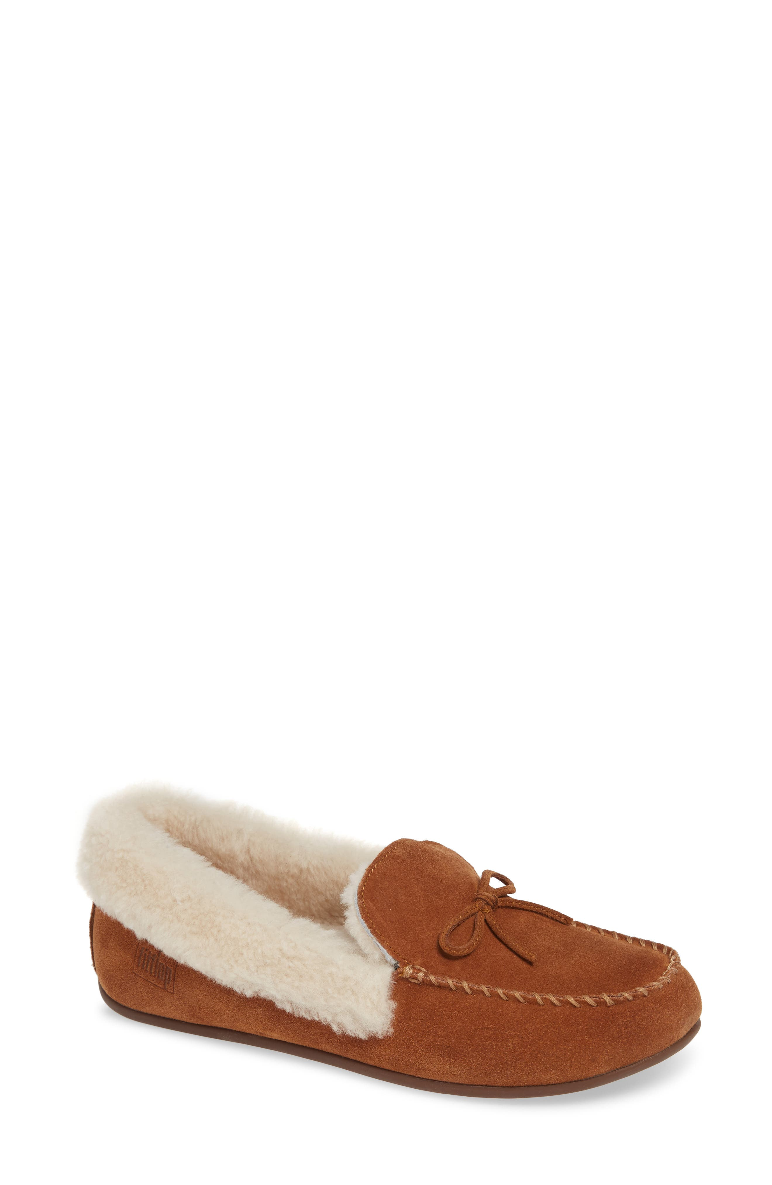 Clara Genuine Shearling Lined Moccasin,                             Main thumbnail 1, color,                             TUMBLED TAN SUEDE