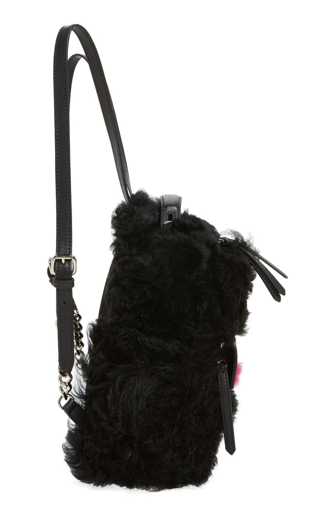 'Mini Monster' Genuine Shearling & Genuine Mink Fur Backpack,                             Alternate thumbnail 3, color,                             BLACK/ FUCHSIA / PALLADIUM