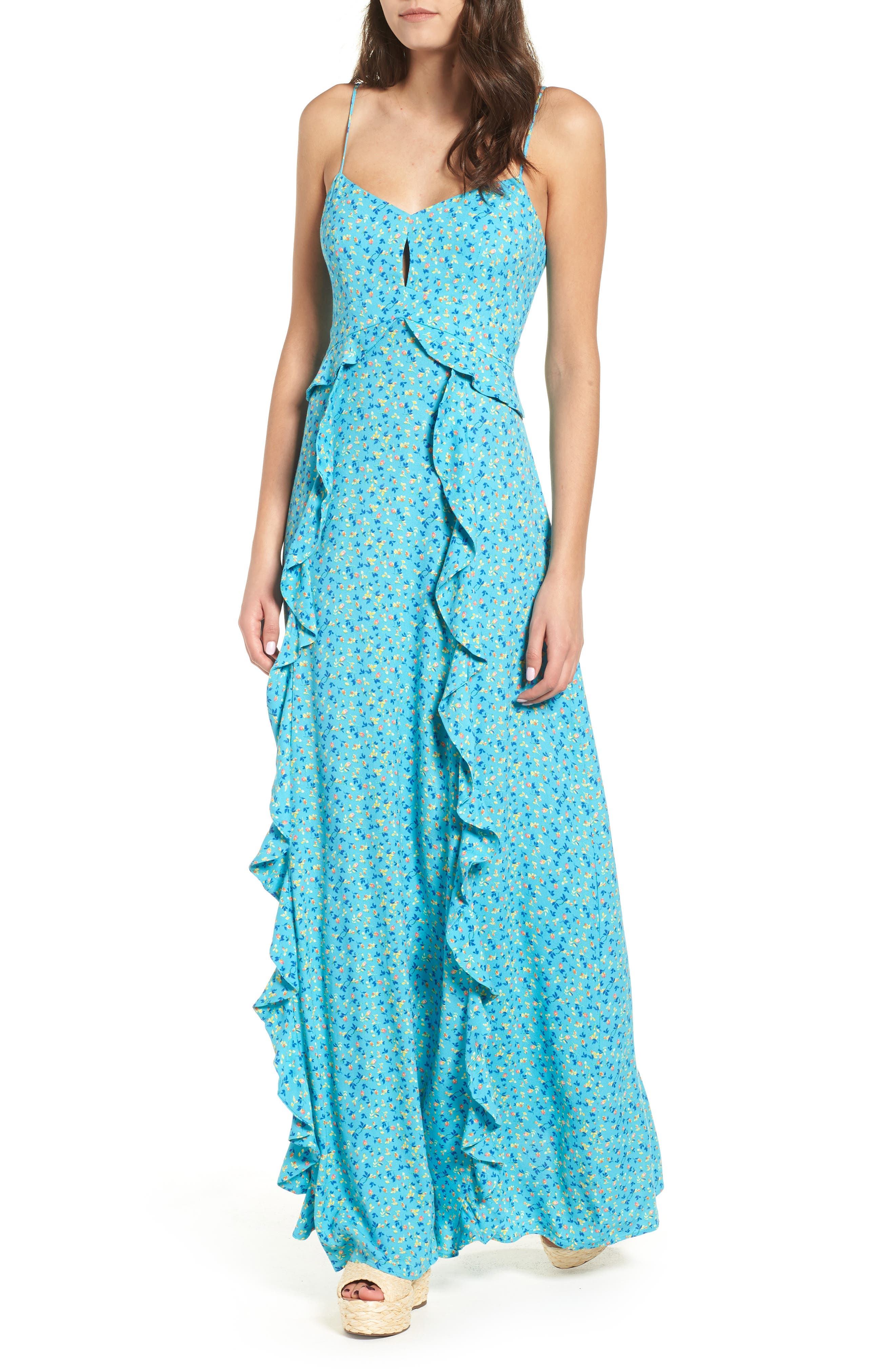 Kiki Ruffle Maxi Dress,                         Main,                         color, 400