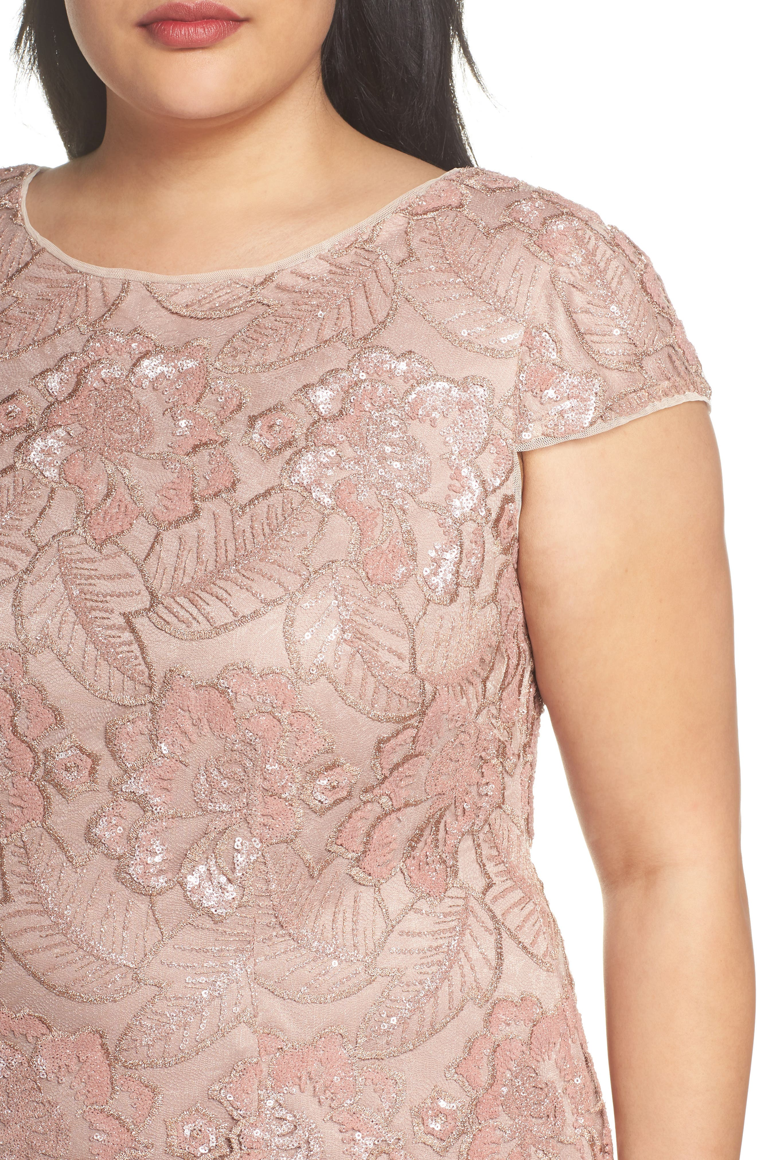 Sequin Lace Cocktail Dress,                             Alternate thumbnail 4, color,                             ROSE GOLD