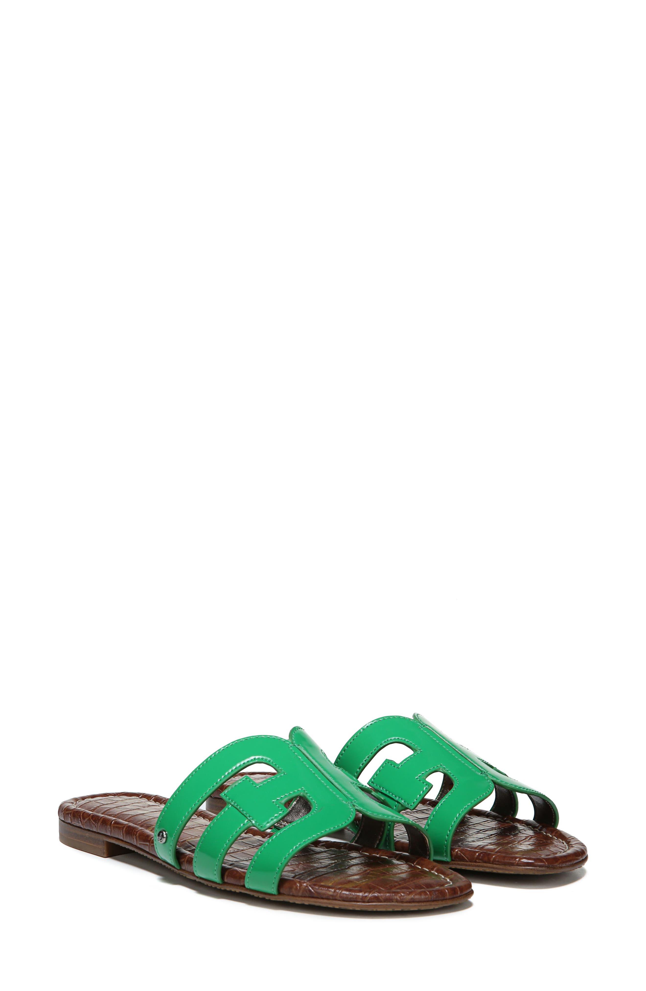 Bay Cutout Slide Sandal,                         Main,                         color, LEAF GREEN PATENT LEATHER