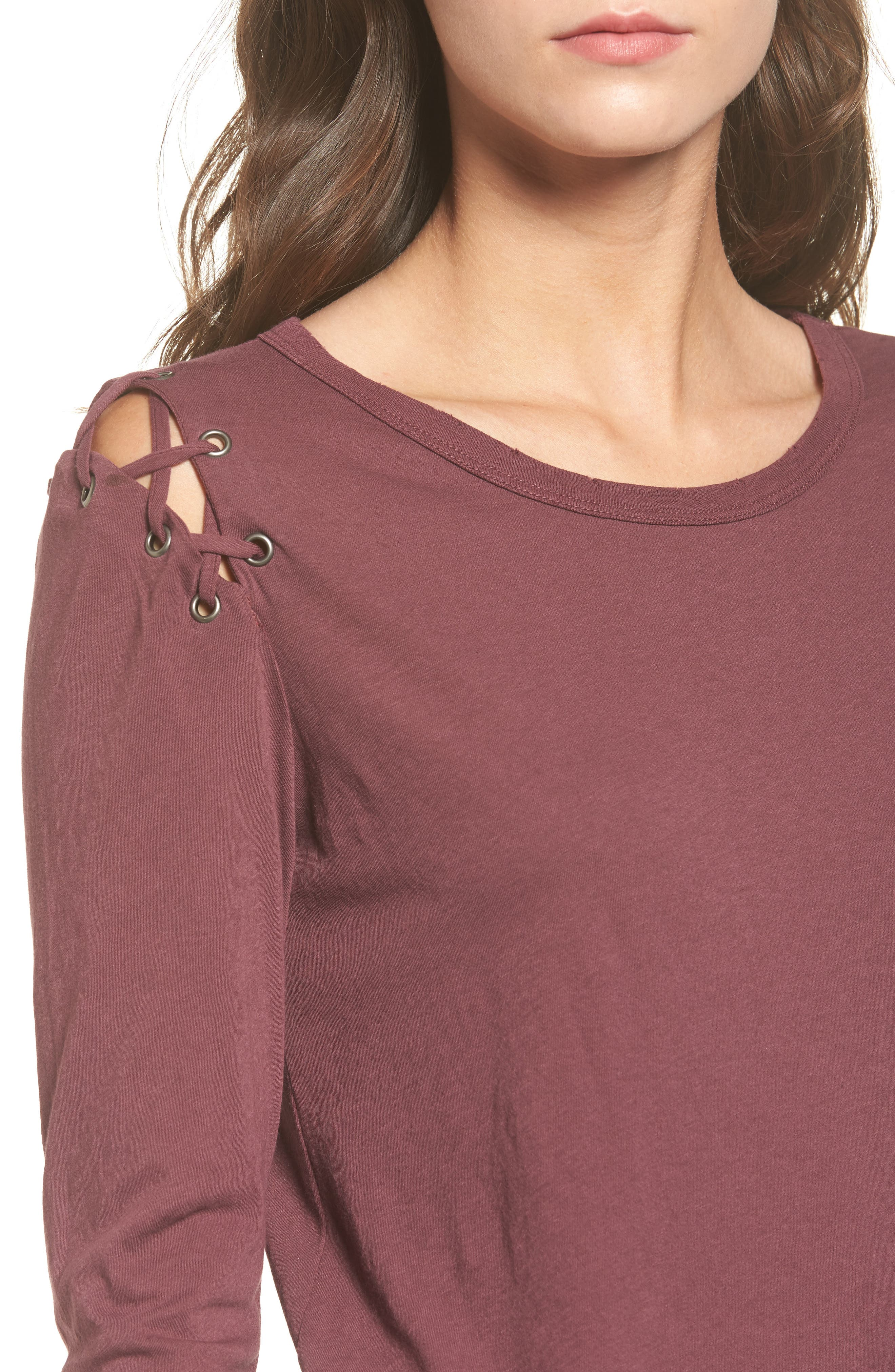 Darcia Lace-Up Tee,                             Alternate thumbnail 4, color,                             930