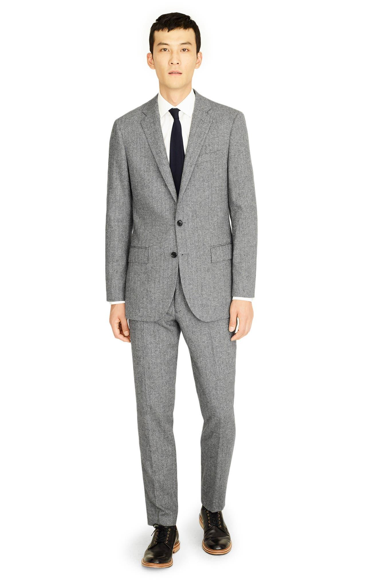 Ludlow Slim Fit Herringbone Wool Blend Suit Jacket,                             Alternate thumbnail 4, color,                             GREY HERRINGBONE
