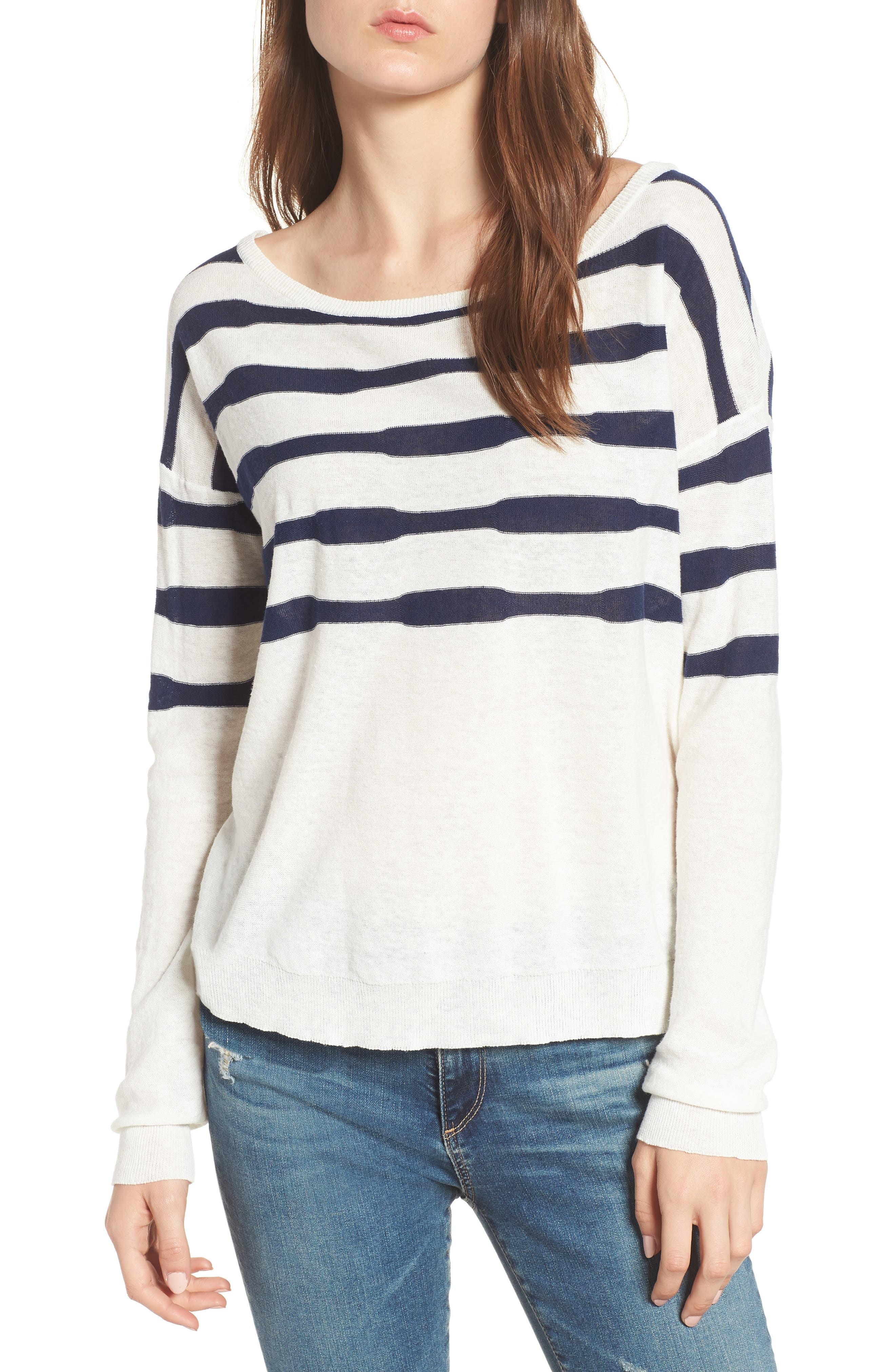Stripe Linen & Cotton Sweater,                         Main,                         color, 020
