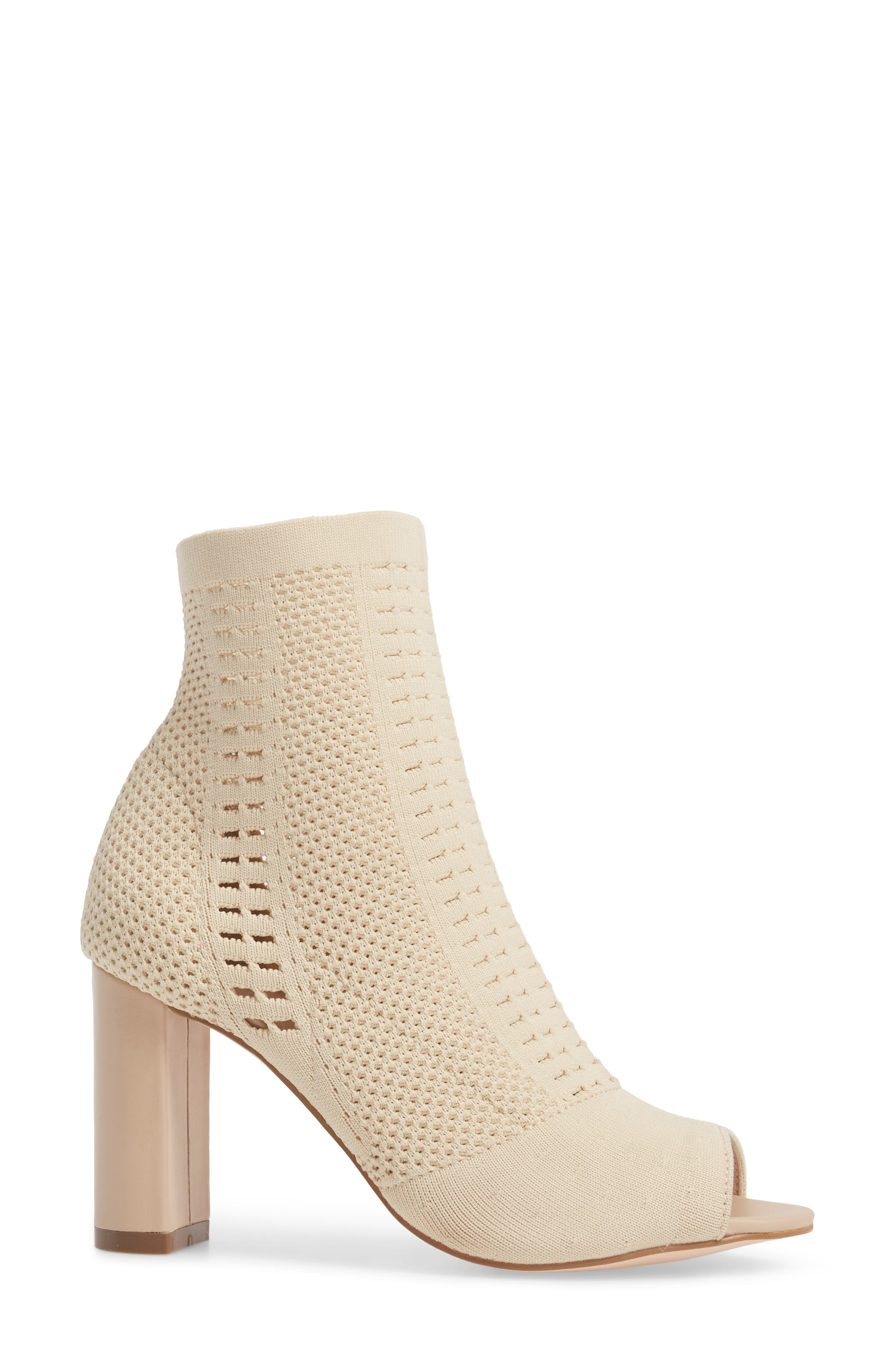 Can't Stop Open Toe Sock Bootie,                             Alternate thumbnail 3, color,                             NATURAL STRETCH