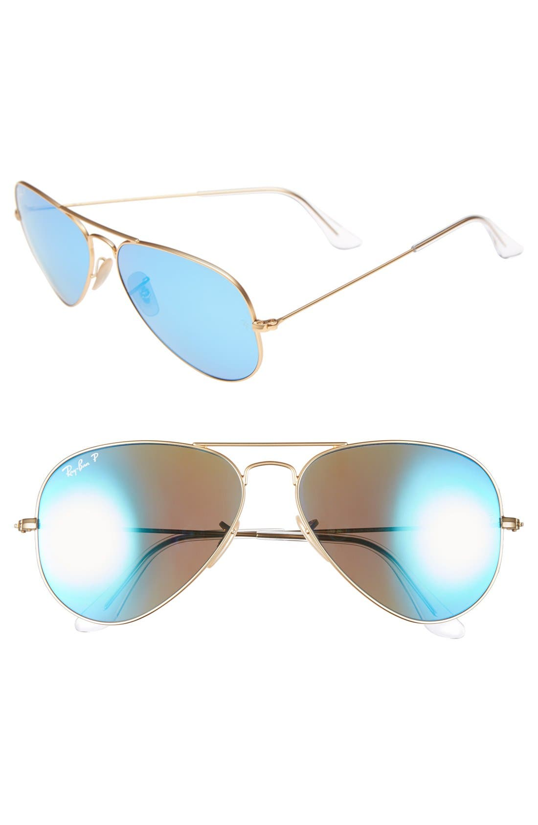 Standard Icons 58mm Mirrored Polarized Aviator Sunglasses,                             Main thumbnail 1, color,                             GOLD/ BLUE MIRROR