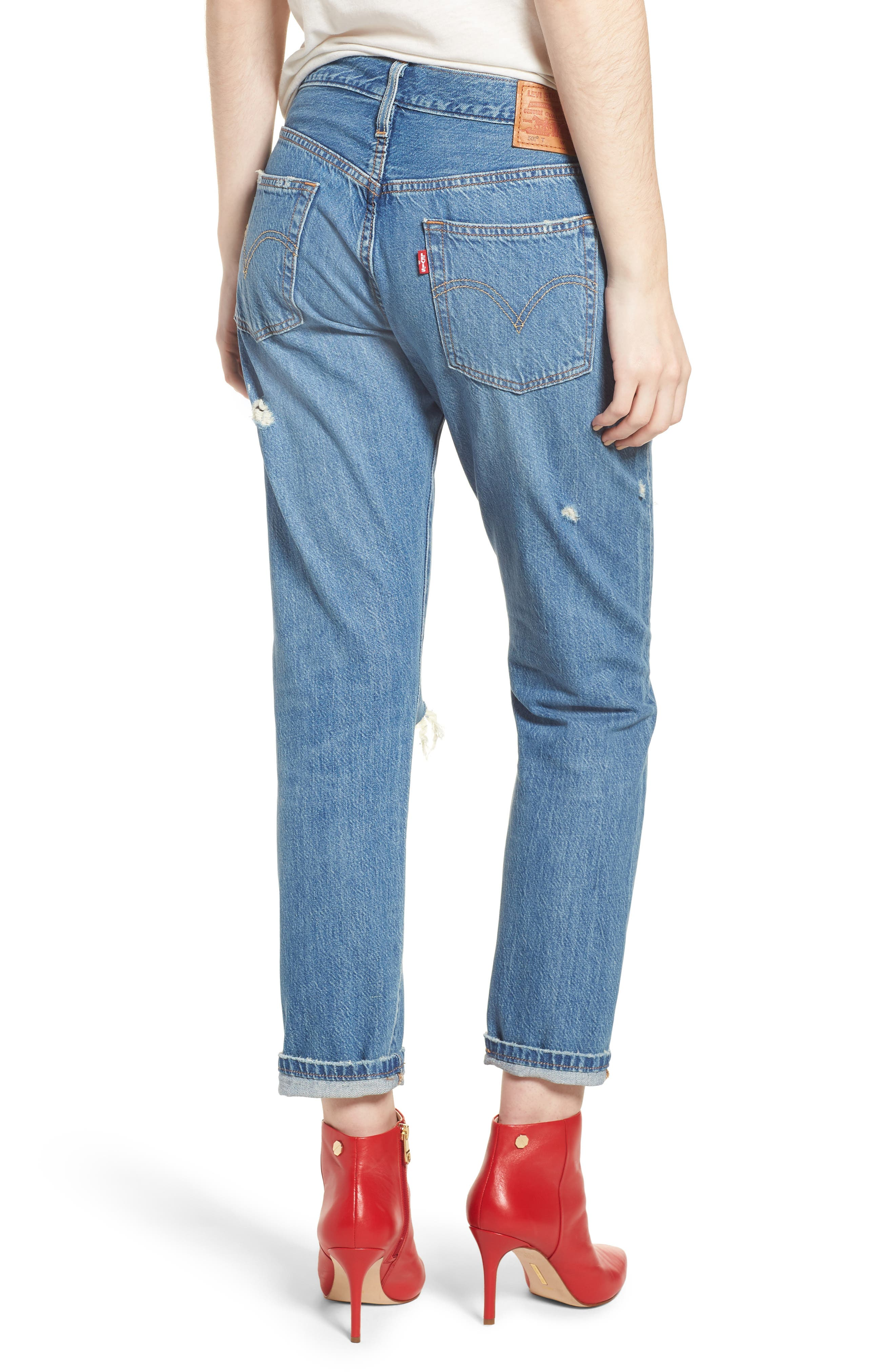 501<sup>™</sup> Taper Ripped Boyfriend Jeans,                             Alternate thumbnail 2, color,                             YOUNG AND RECKLESS