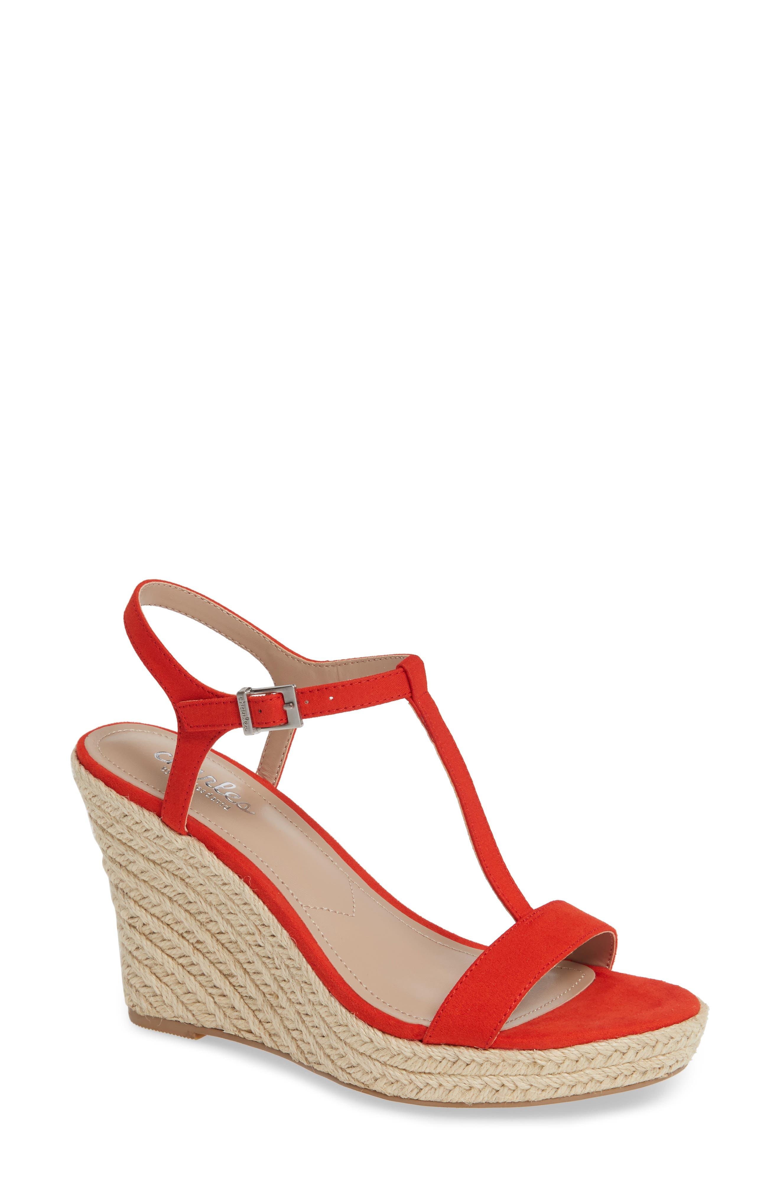 Charles By Charles David Lili T-Strap Wedge Sandal- Red