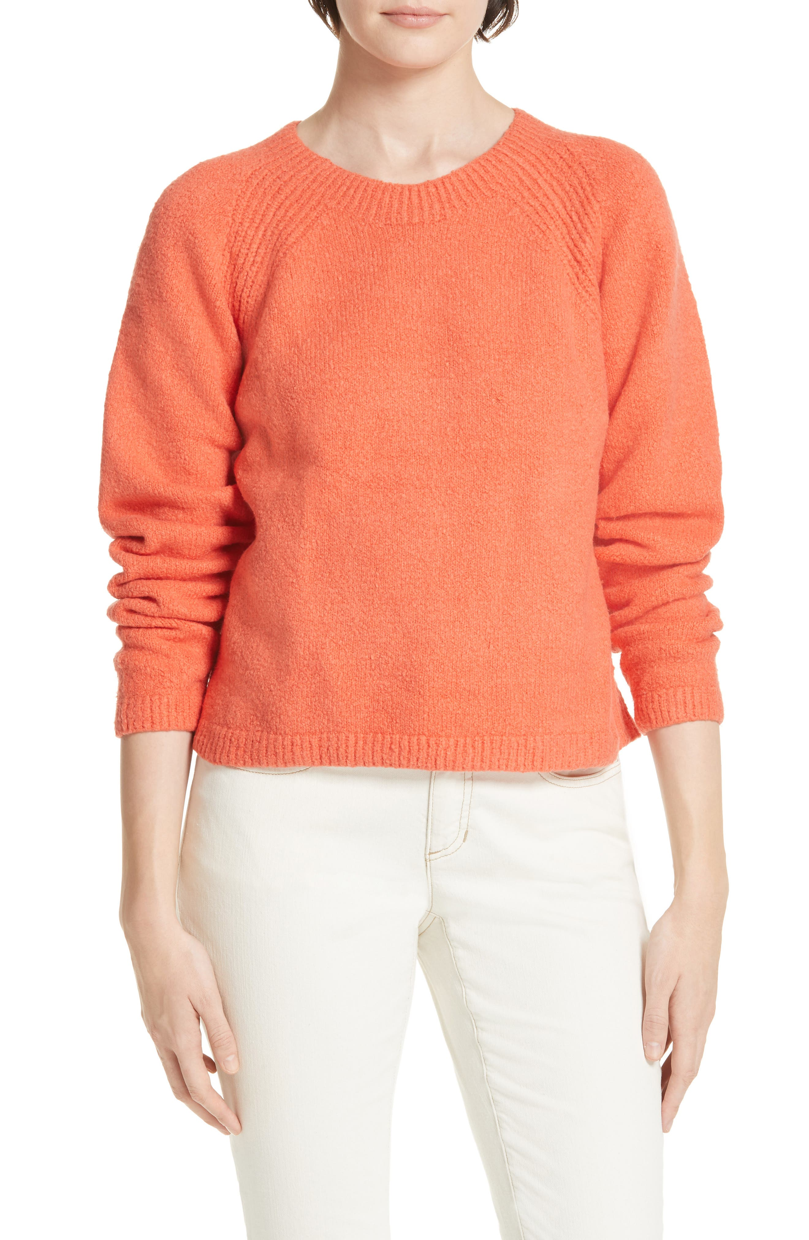petite women's eileen fisher organic cotton blend sweater, size large p - red
