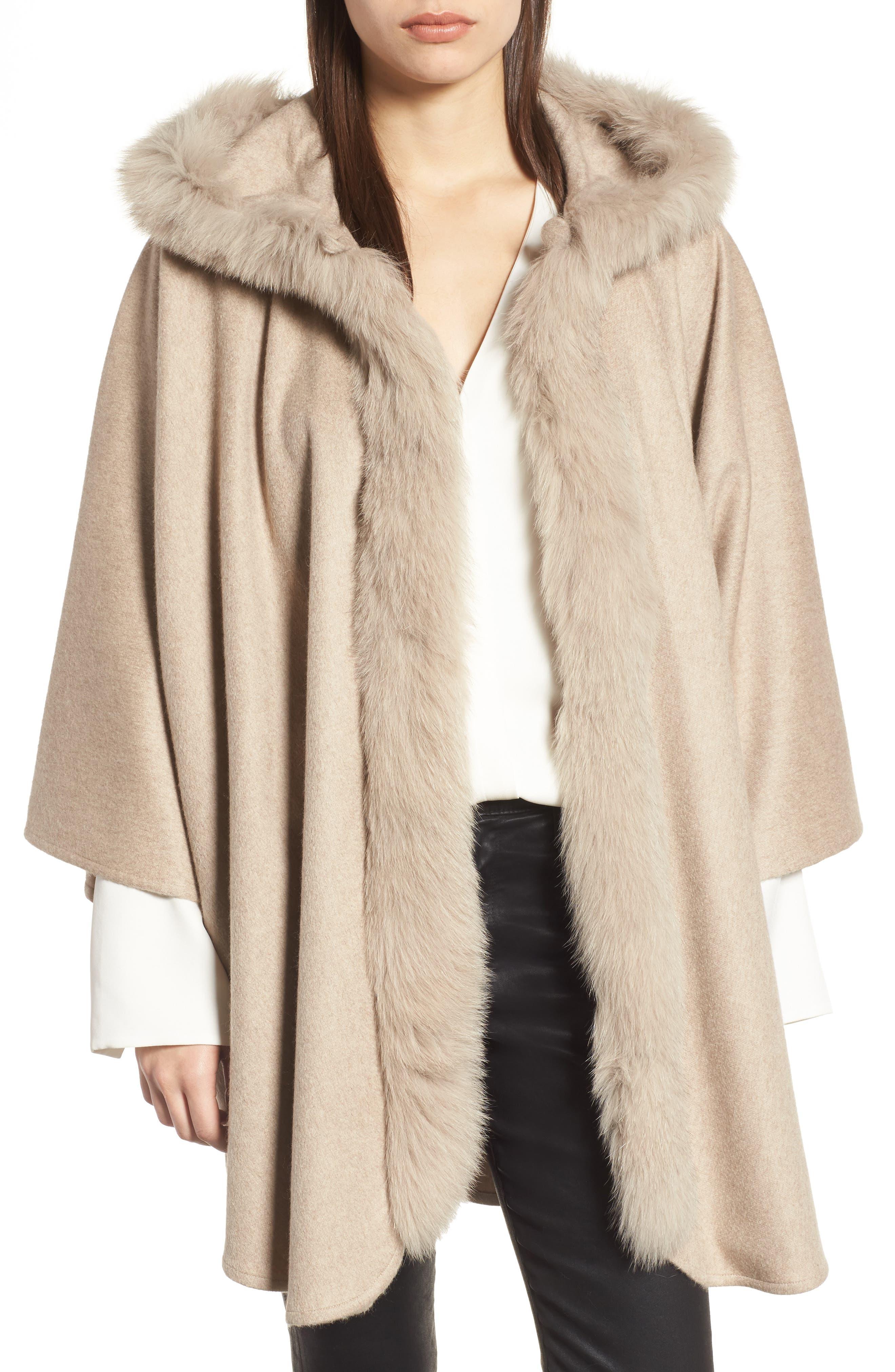 Cashmere Hooded Cape with Genuine Fox Fur Trim,                         Main,                         color, 020