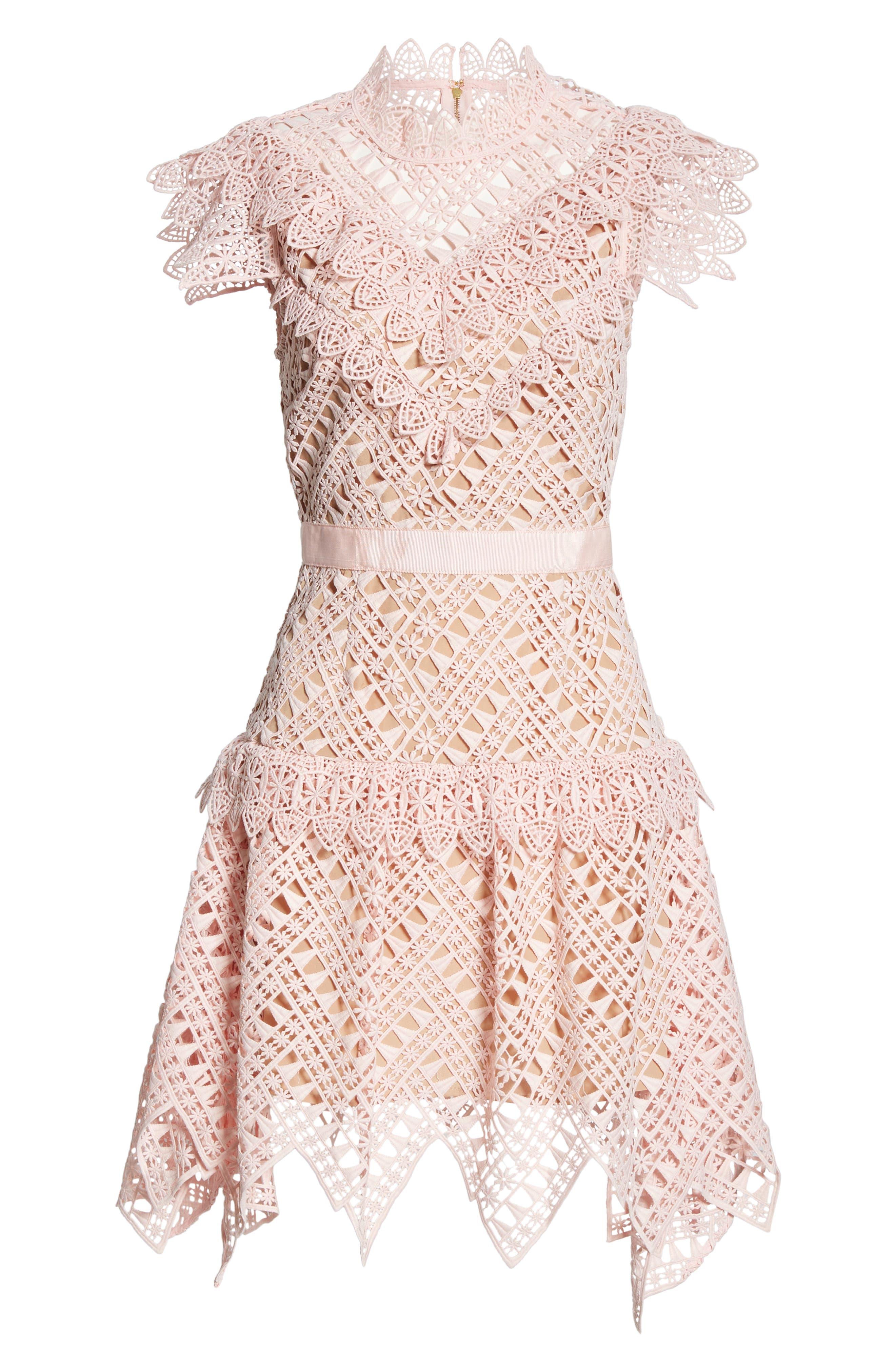 SELF-PORTRAIT,                             Triangle Lace Minidress,                             Alternate thumbnail 6, color,                             PINK