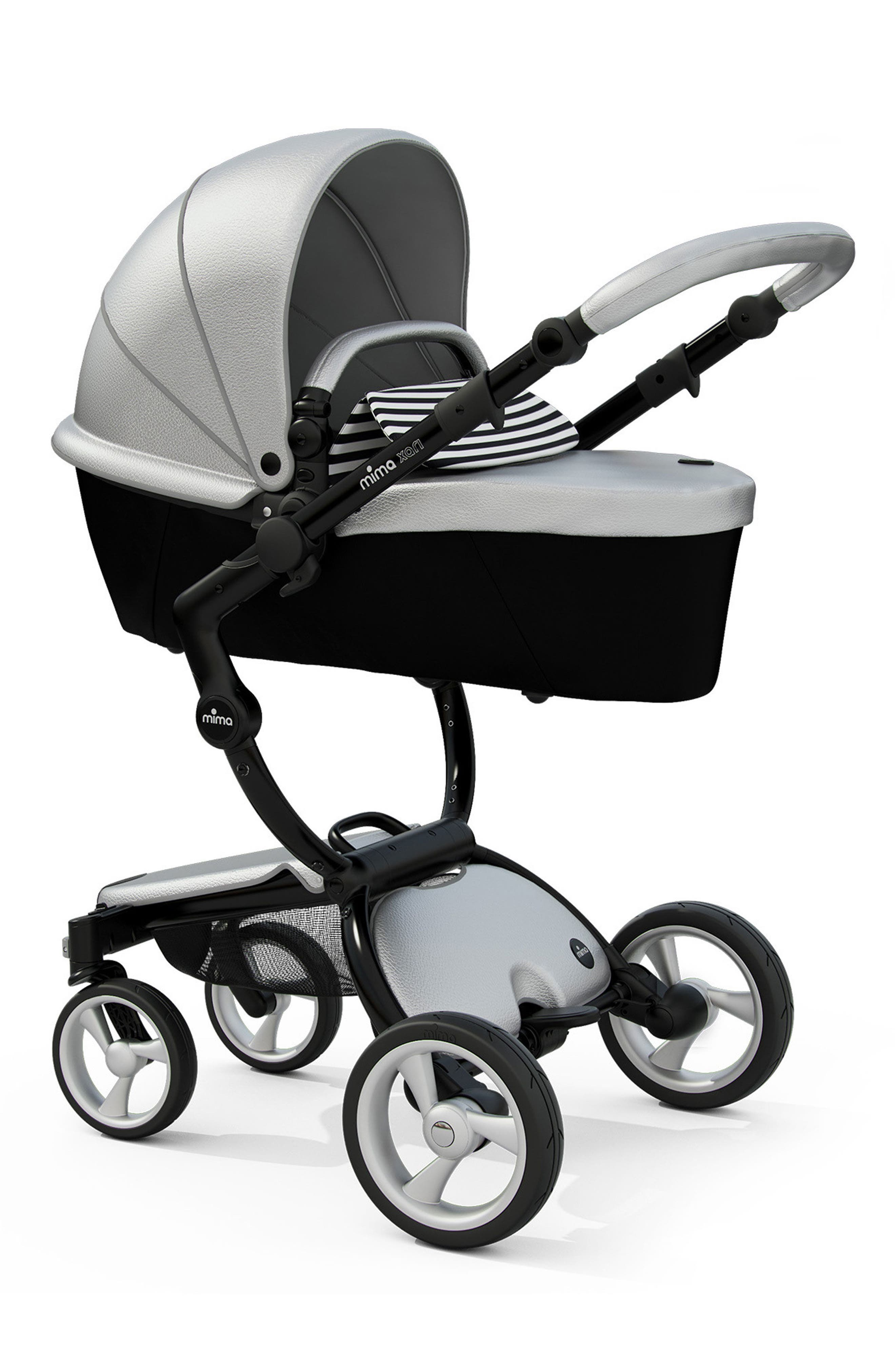 Xari Black Chassis Stroller with Reversible Reclining Seat & Carrycot,                             Alternate thumbnail 2, color,                             BLK/WHT