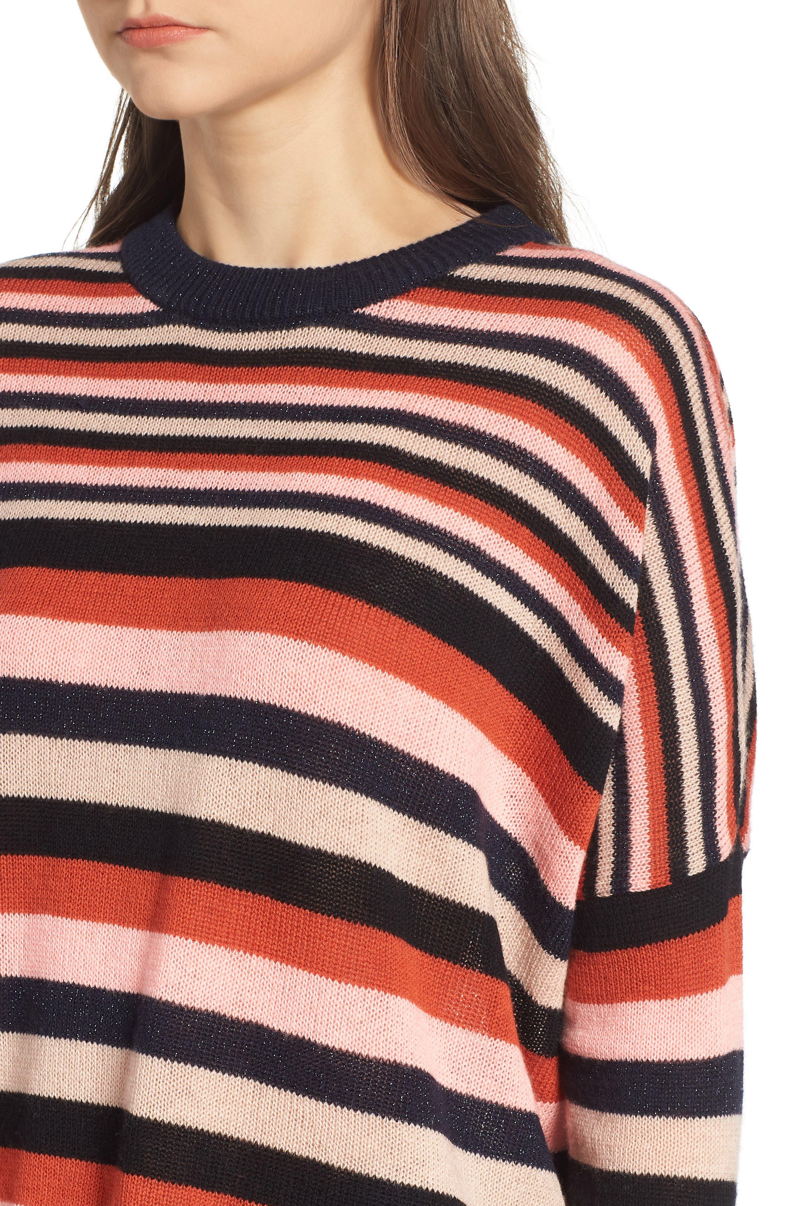 Stripe Sweater,                             Alternate thumbnail 4, color,                             PINK NAVY RUST STRIPE