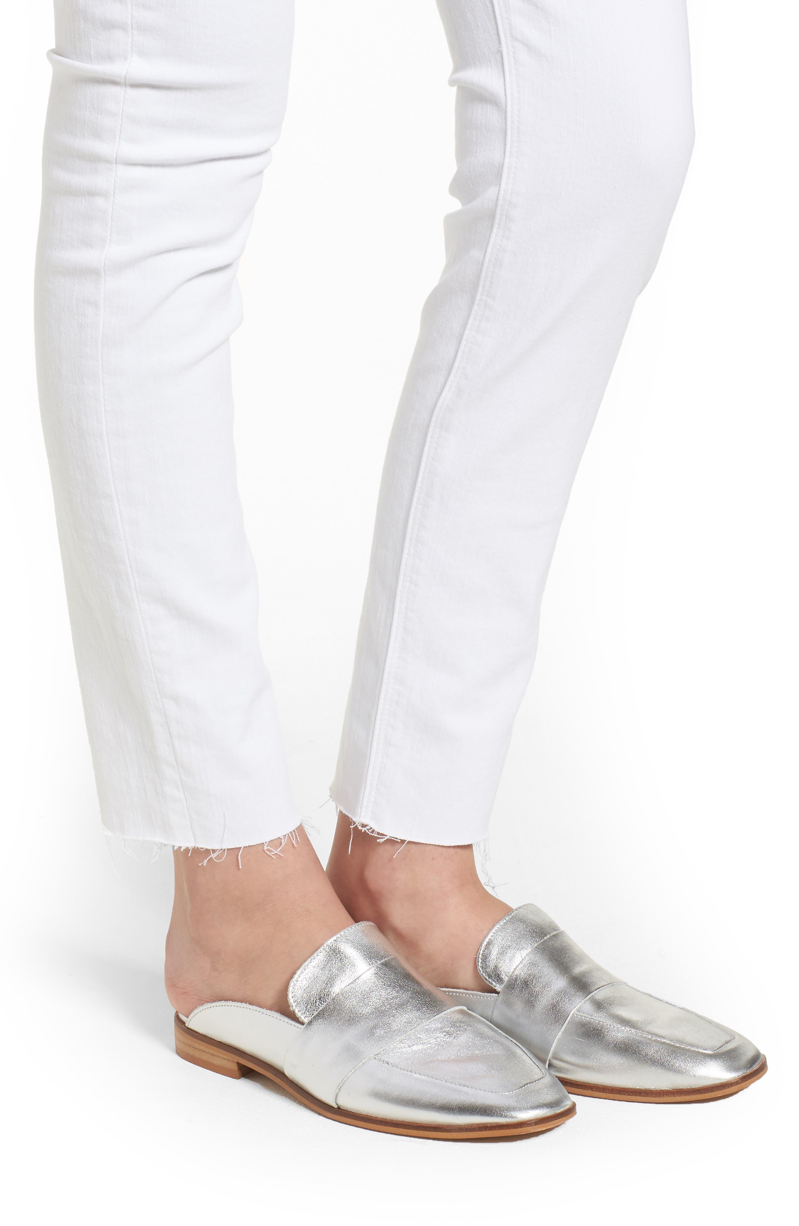 Barbara High Waist Raw Hem Ankle Skinny Jeans,                             Alternate thumbnail 4, color,                             110