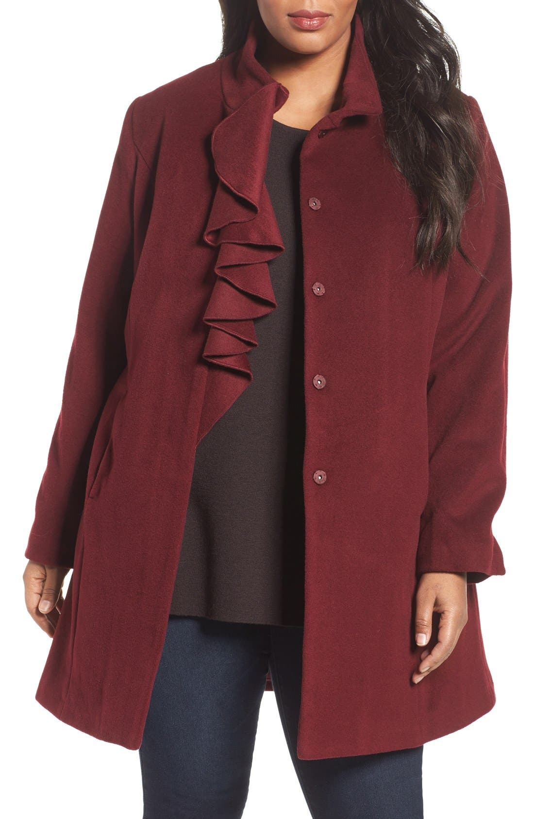 Kate Ruffle Wool Blend Coat,                             Main thumbnail 5, color,