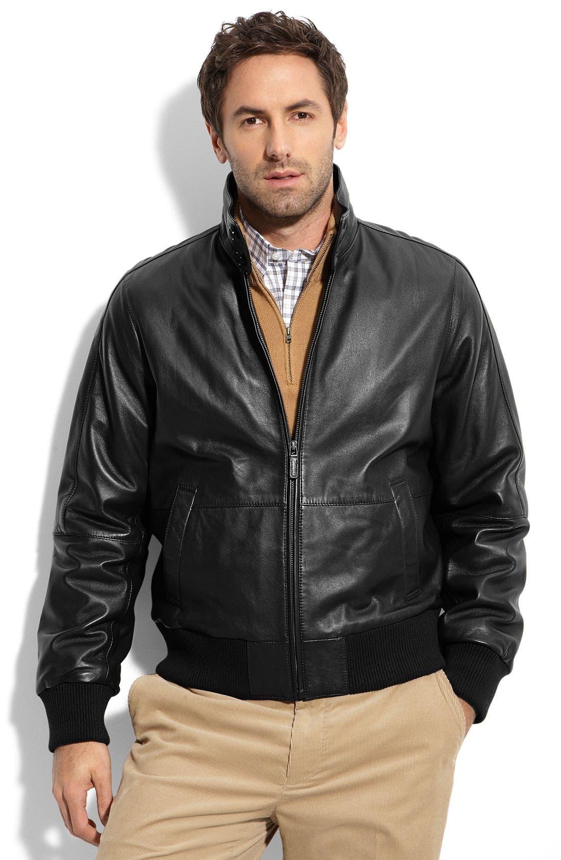 F. FAÇONNABLE,                             Façonnable Lambskin Leather Blouson Jacket,                             Main thumbnail 1, color,                             001