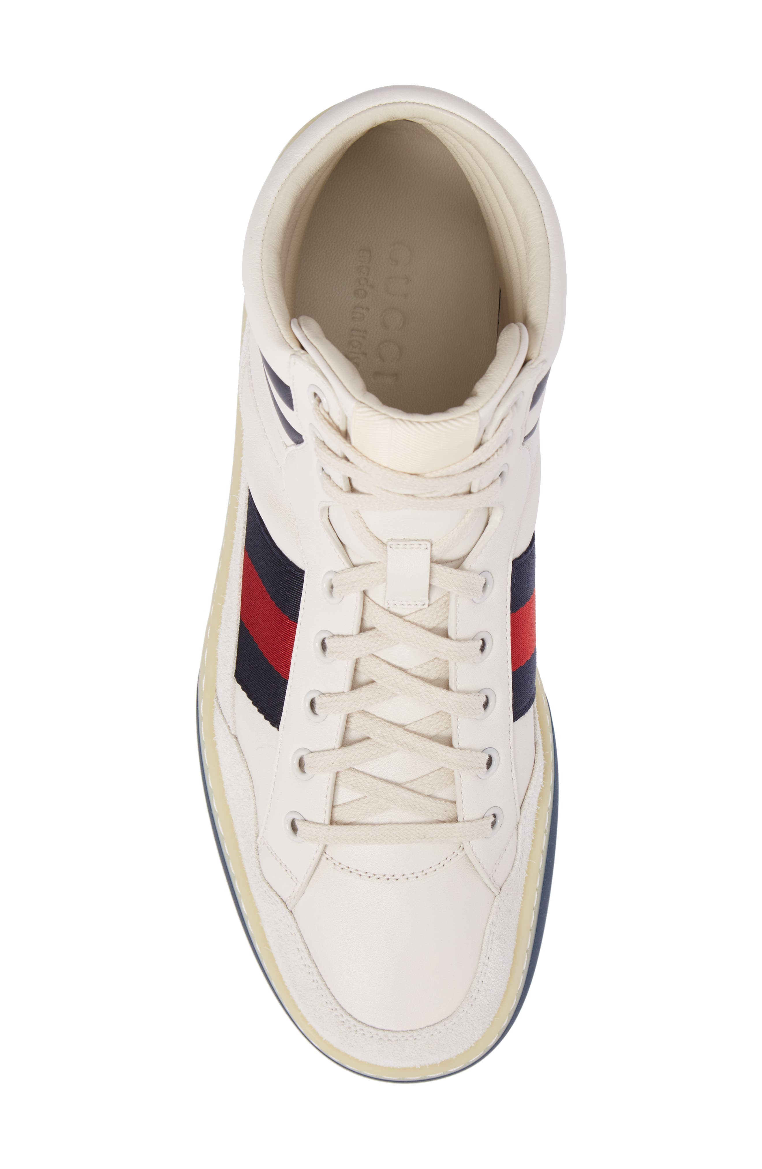 Leather High Top Sneaker,                             Alternate thumbnail 5, color,                             WHITE LEATHER/ SUEDE