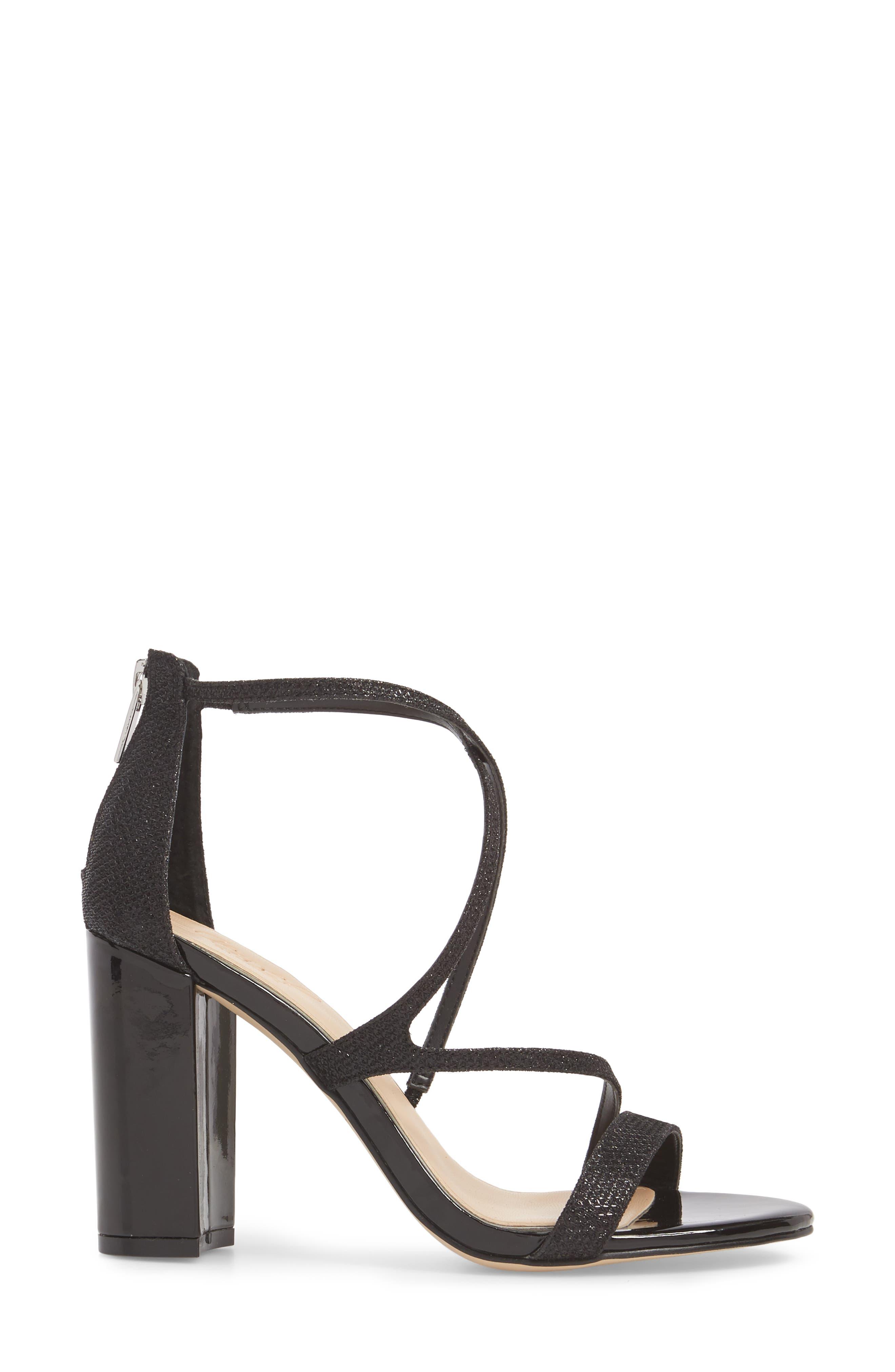 Badgley Mischka Gale Block Heel Sandal,                             Alternate thumbnail 3, color,                             BLACK GLITTER FABRIC