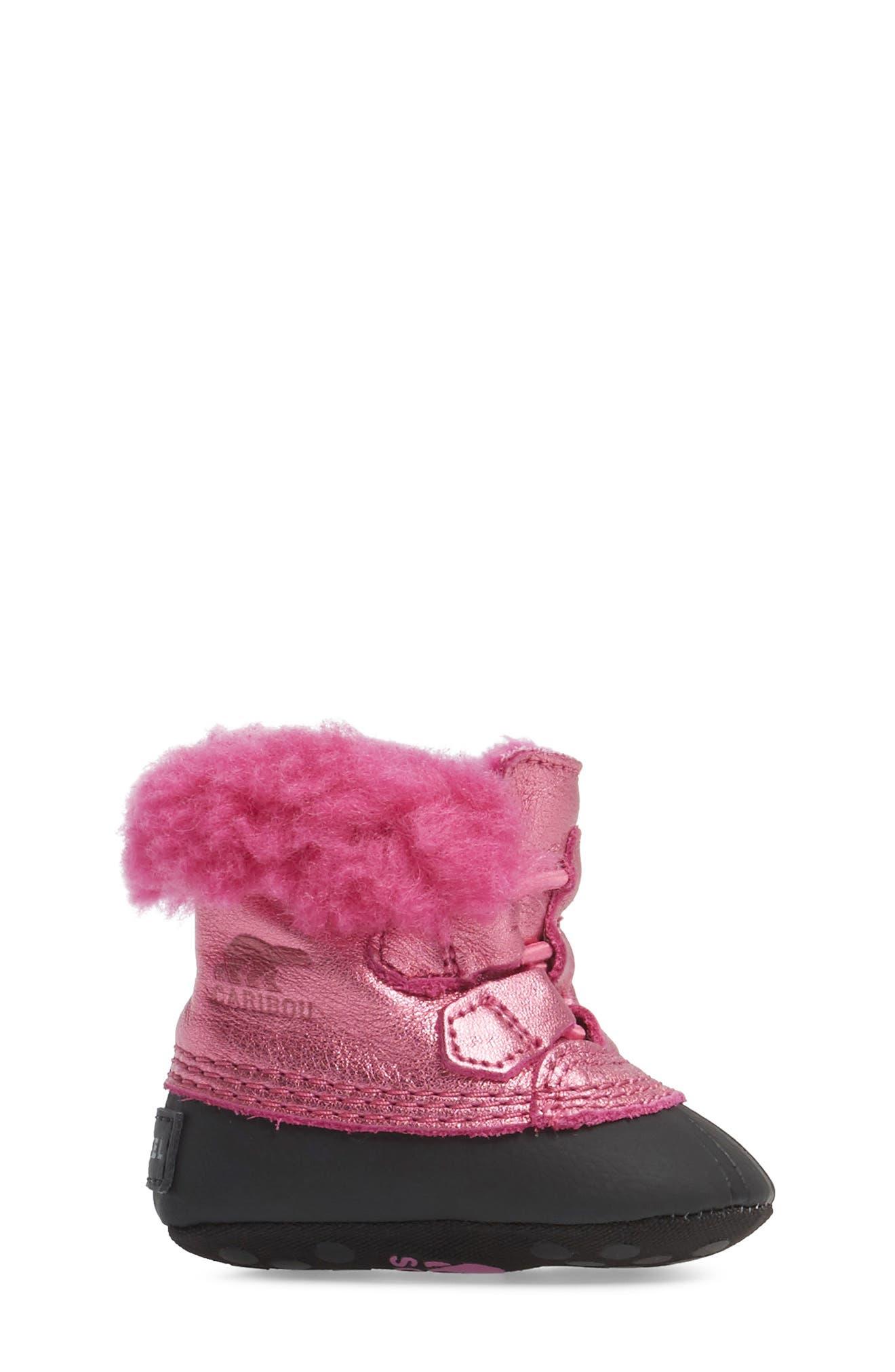 Caribootie Genuine Shearling Crib Shoe,                             Alternate thumbnail 17, color,