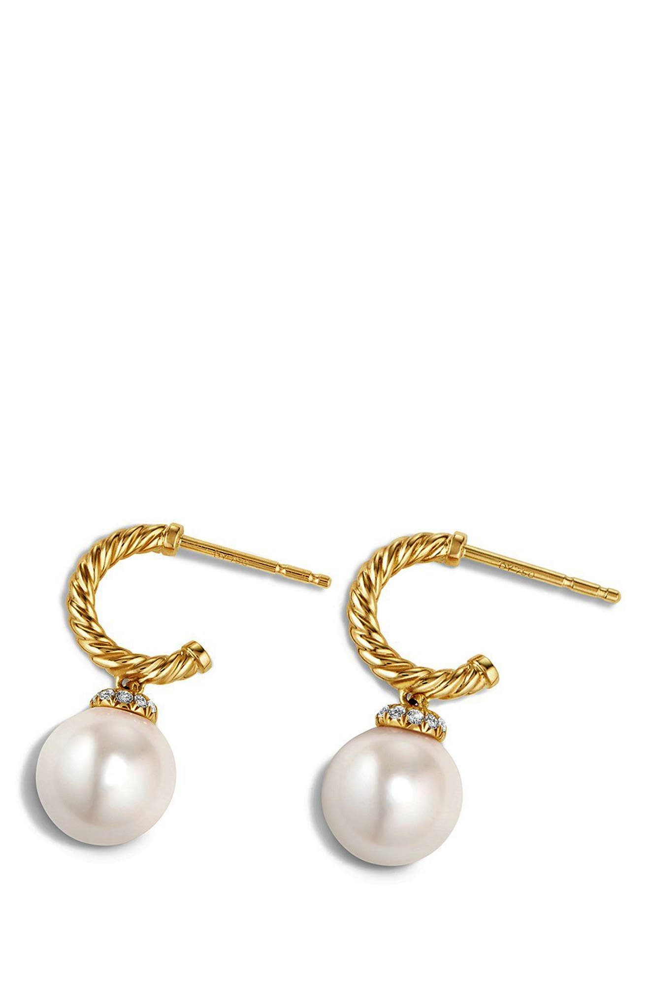 'Solari' Hoop Earring with Diamonds and Pearls in 18K Gold,                             Alternate thumbnail 3, color,                             PEARL