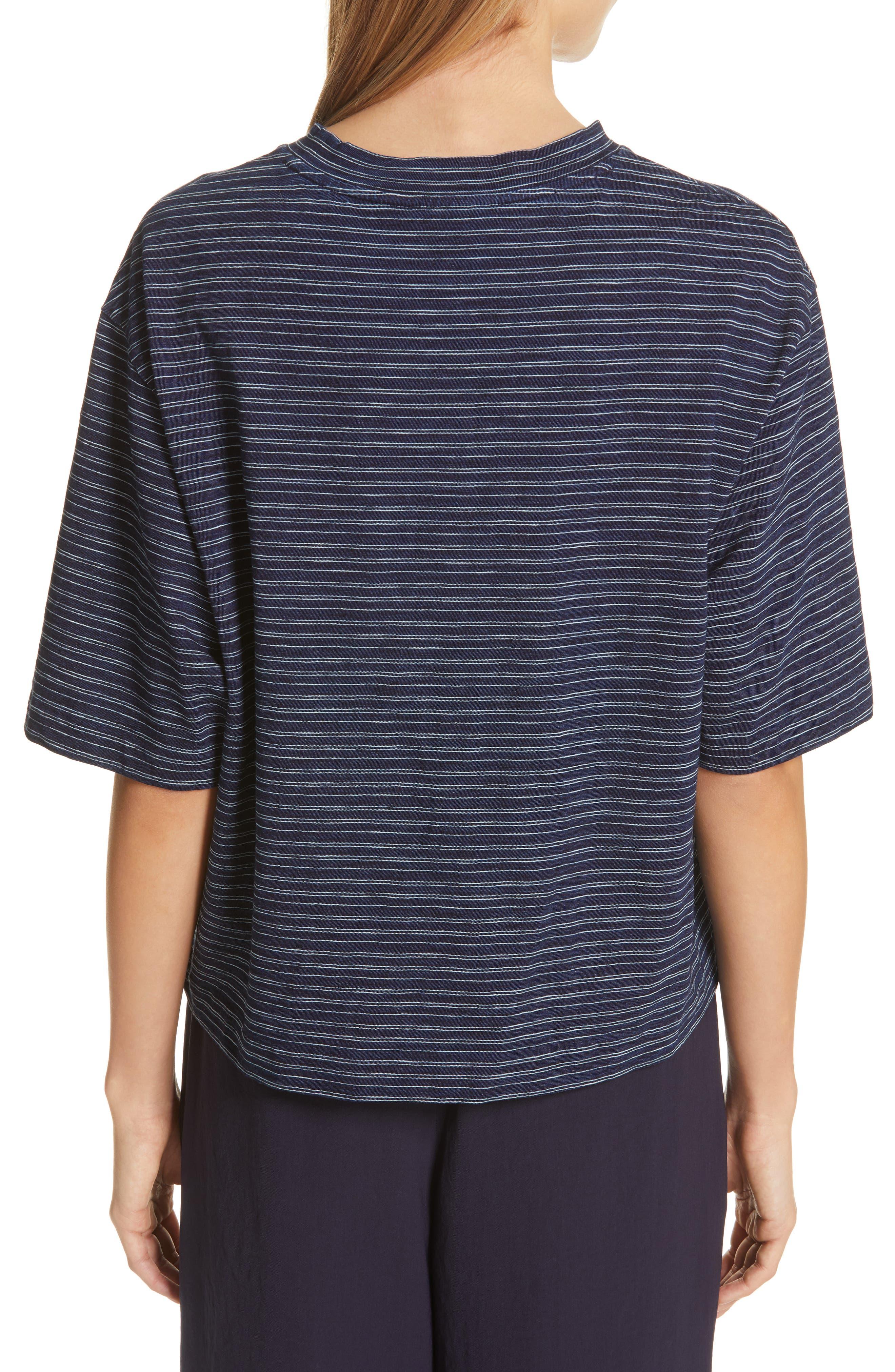 Indigo Stripe Wide Sleeve Tee,                             Alternate thumbnail 2, color,                             INDIGO/ OFF WHITE