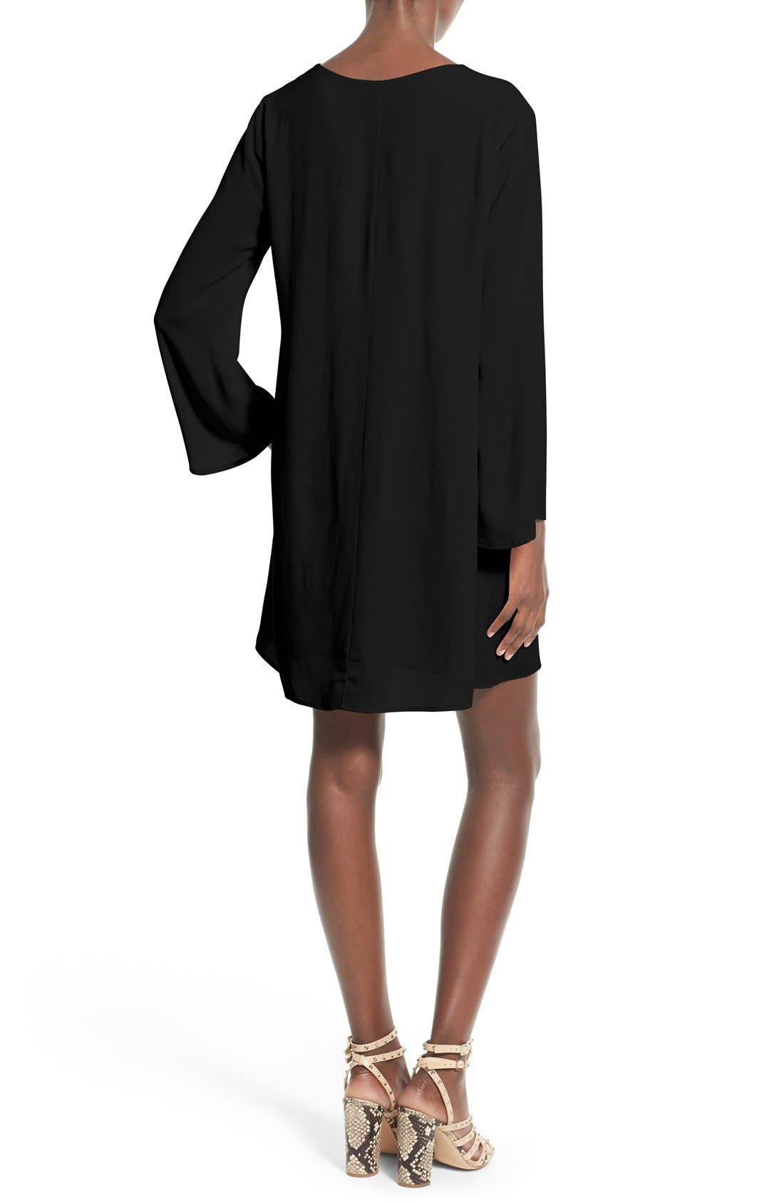 ASTR THE LABEL,                             ASTR Lace-Up Bell Sleeve Shift Dress,                             Alternate thumbnail 2, color,                             001