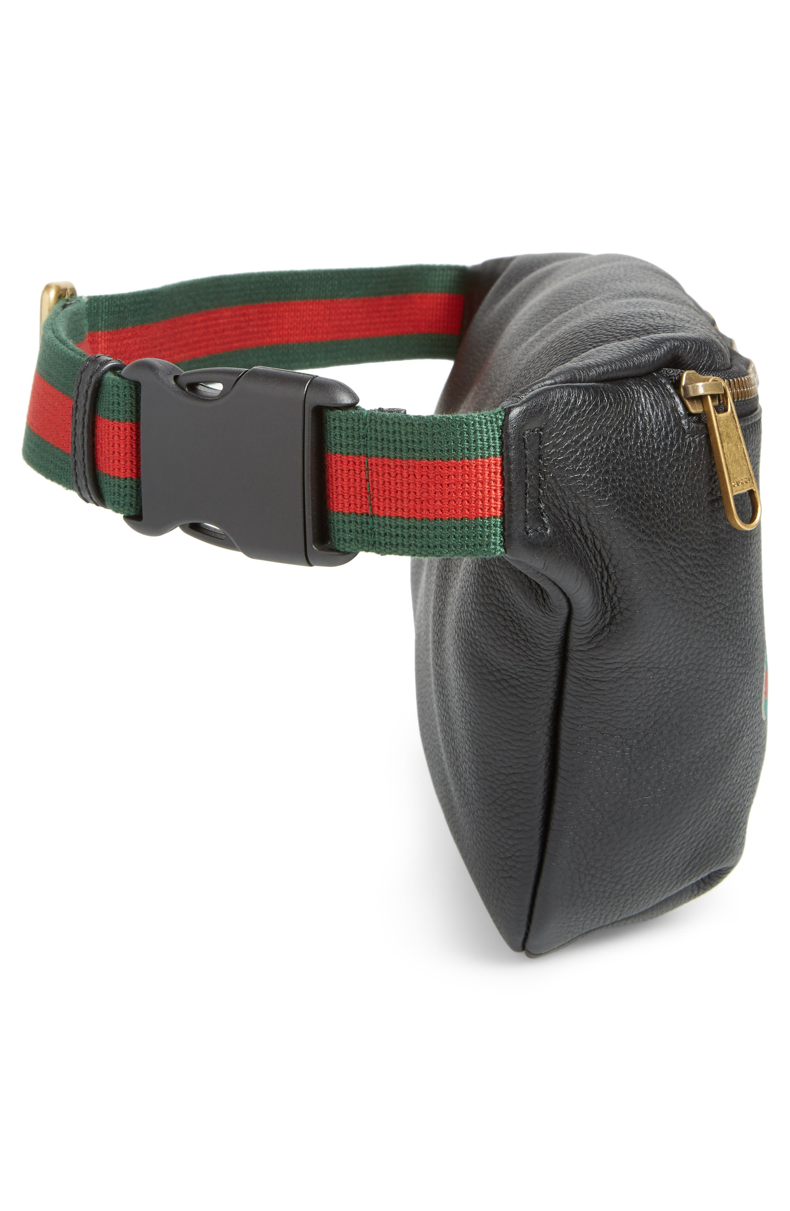 Logo Leather Waist Pack,                             Alternate thumbnail 5, color,                             BLACK