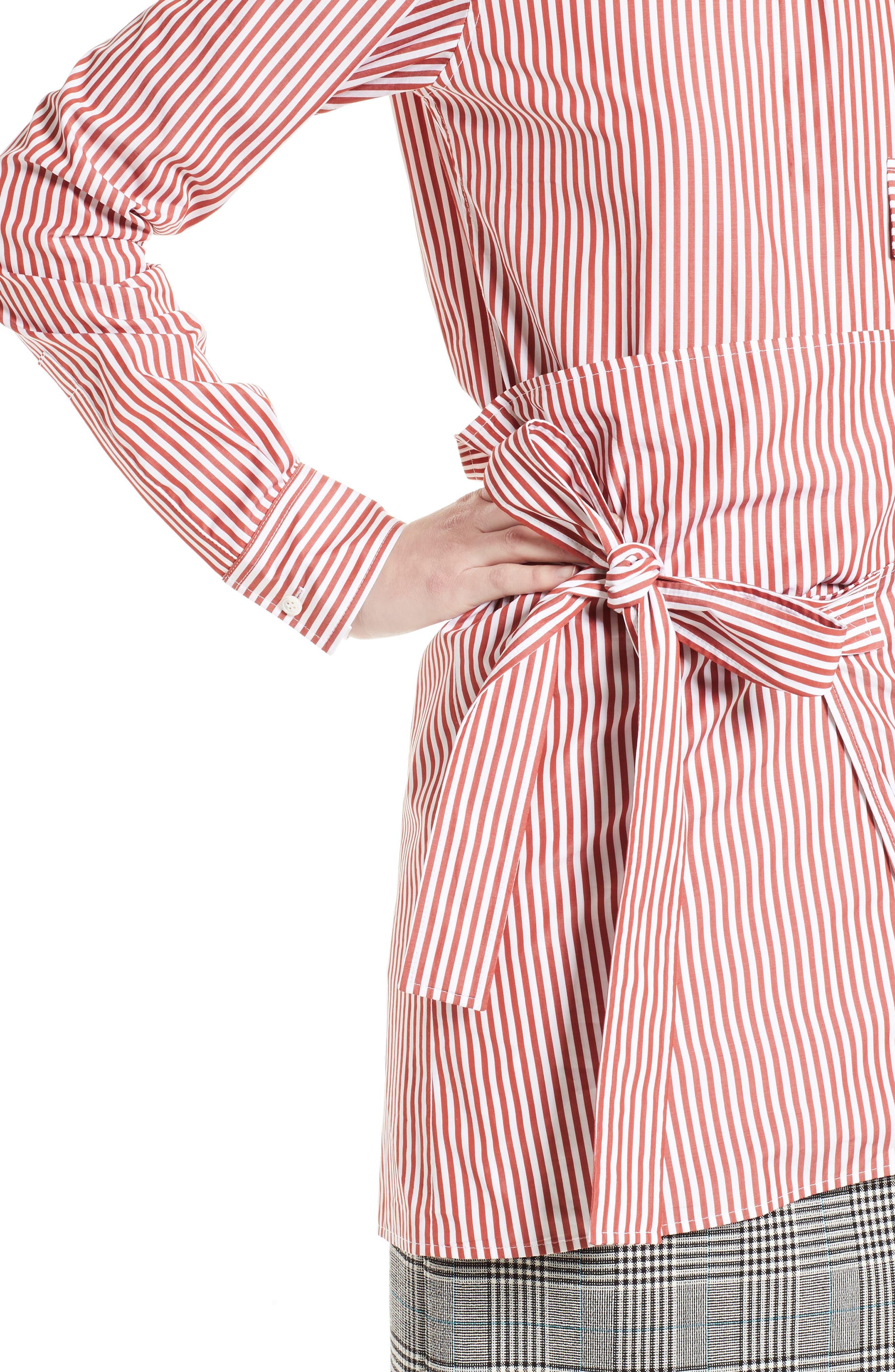 Stripe Wrap Tie Shirt,                             Alternate thumbnail 4, color,