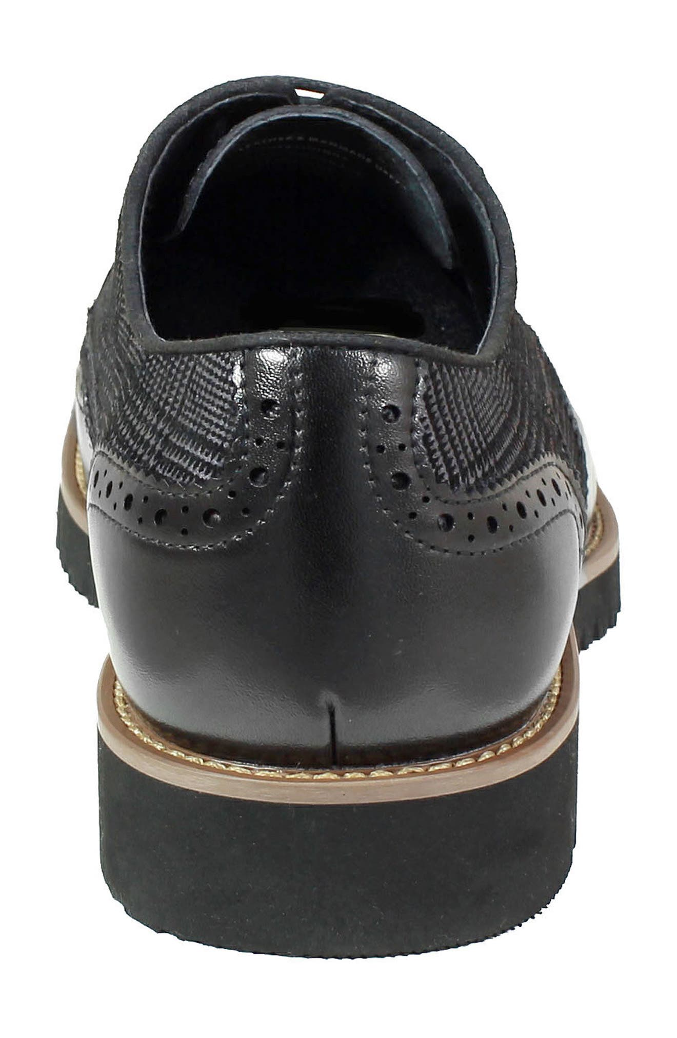 Baxley Glen Plaid Wingtip,                             Alternate thumbnail 8, color,                             BLACK LEATHER/ SUEDE