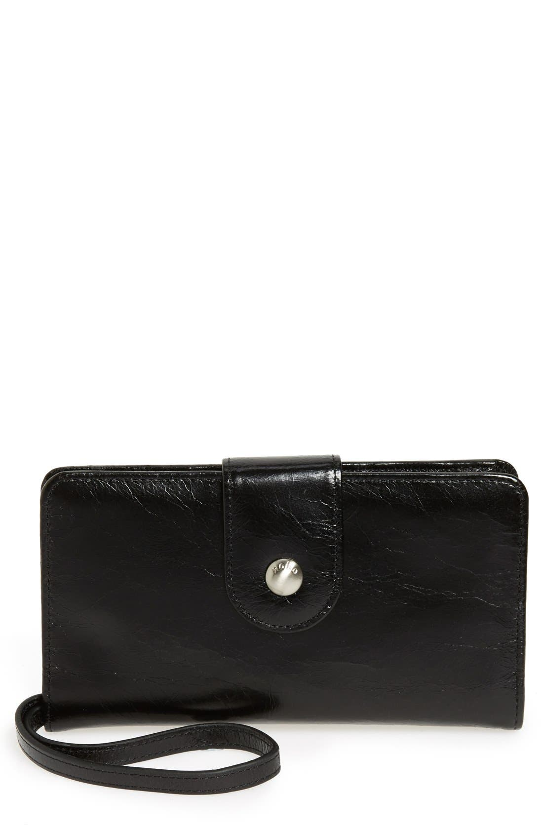 Danette Glazed Continental Wallet,                         Main,                         color, BLACK