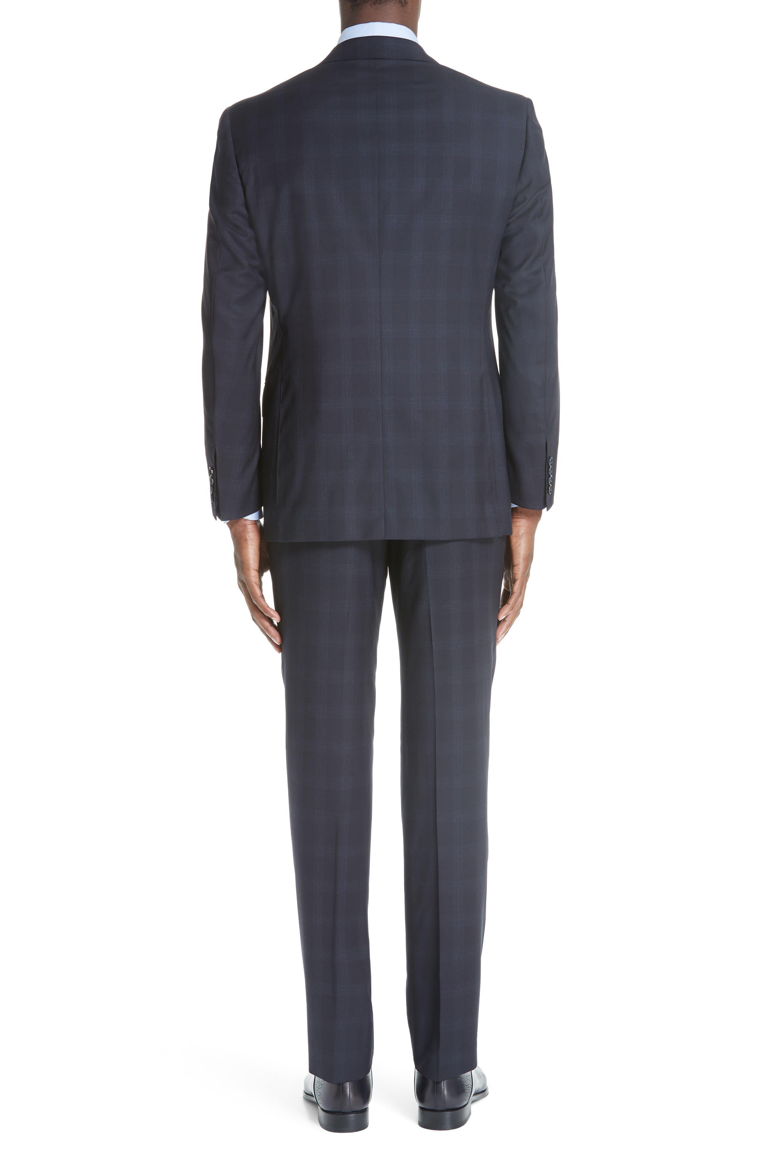 Classic Fit Plaid Wool Suit,                             Alternate thumbnail 2, color,                             NAVY
