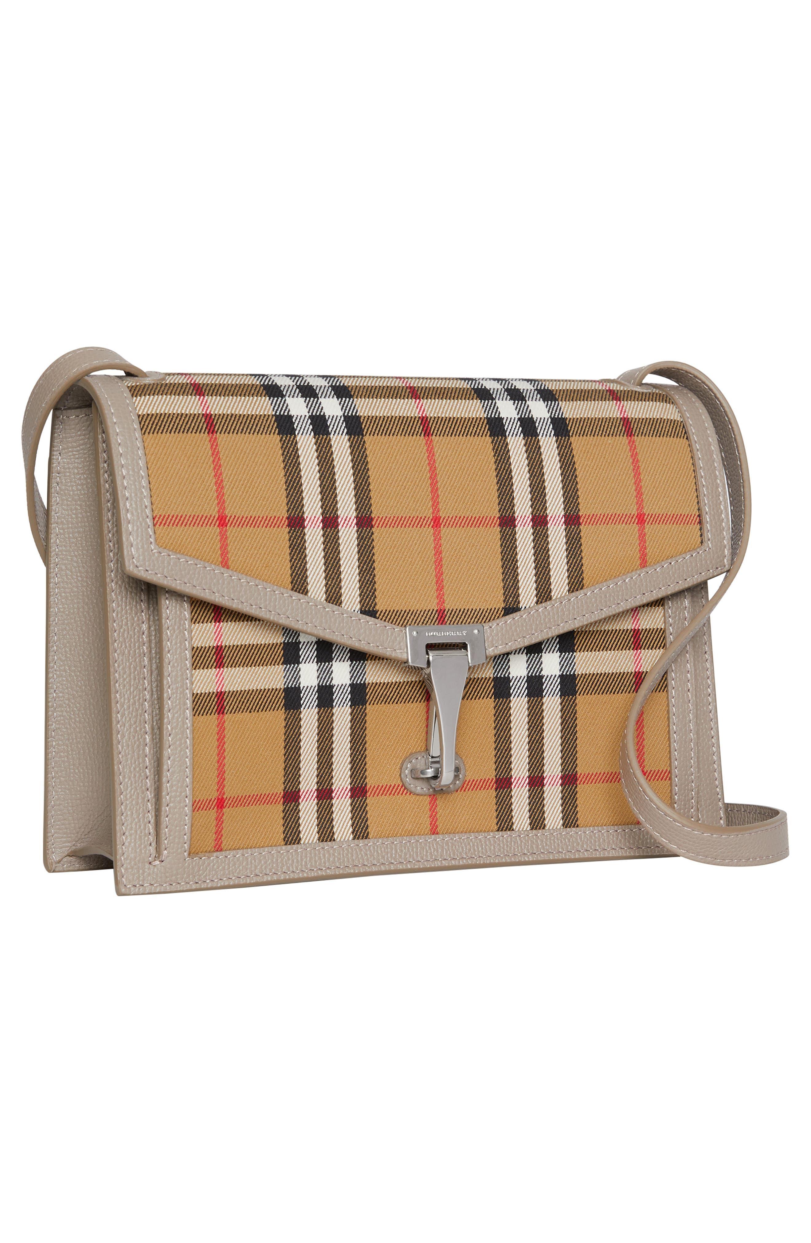 Small Macken Vintage Check Crossbody Bag,                             Alternate thumbnail 7, color,                             TAUPE BROWN