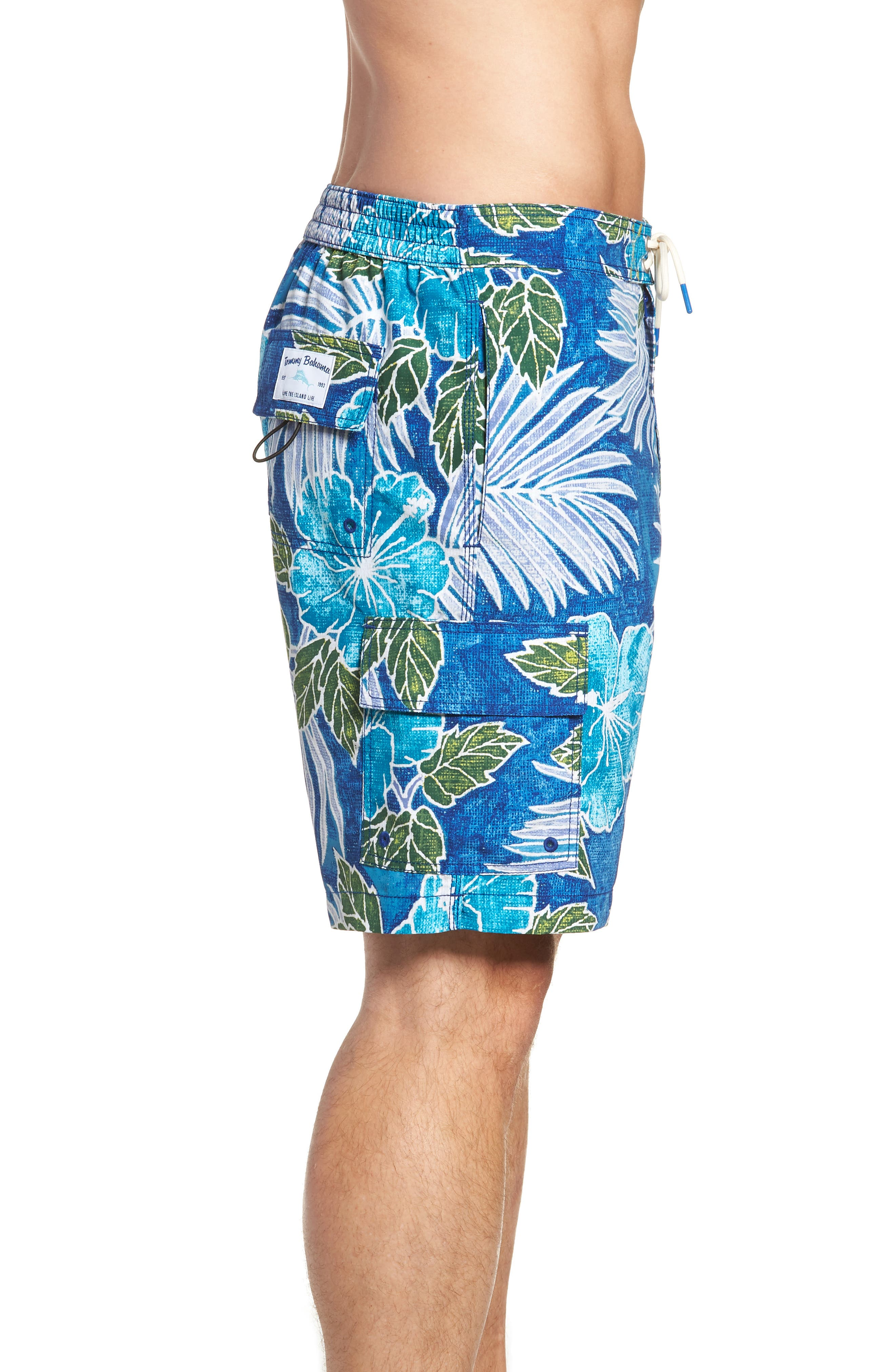 Baja Hibiscus Cove Board Shorts,                             Alternate thumbnail 4, color,                             DARK COBALT