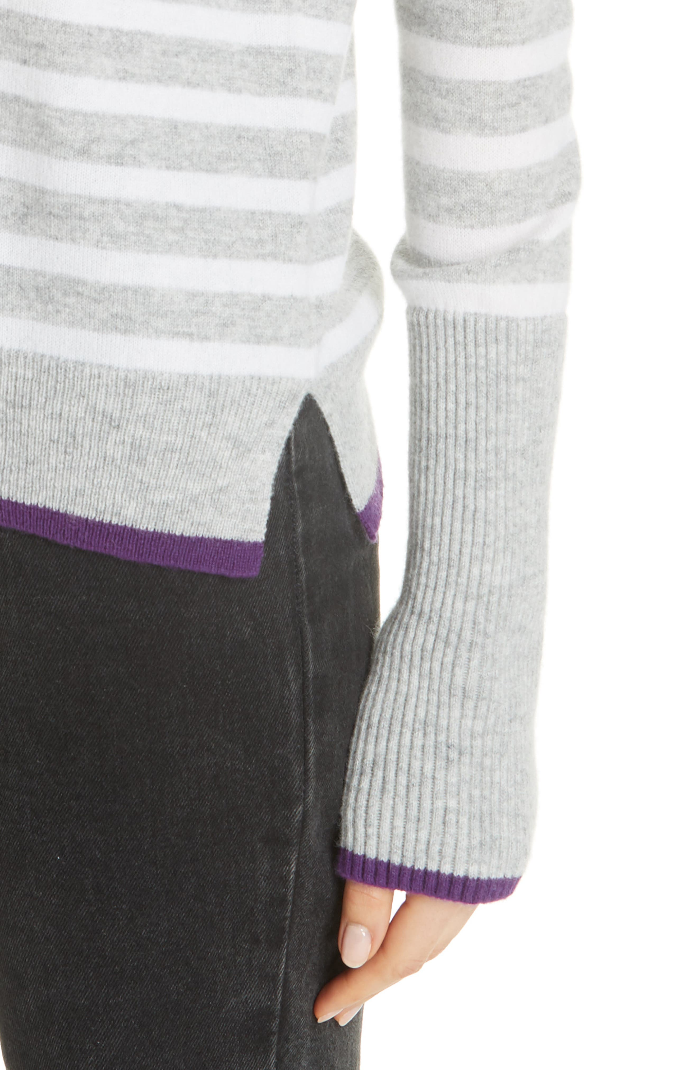AAA Lean Lines Cashmere Sweater,                             Alternate thumbnail 4, color,                             GREY MARLE/ CREAM/ PURPLE