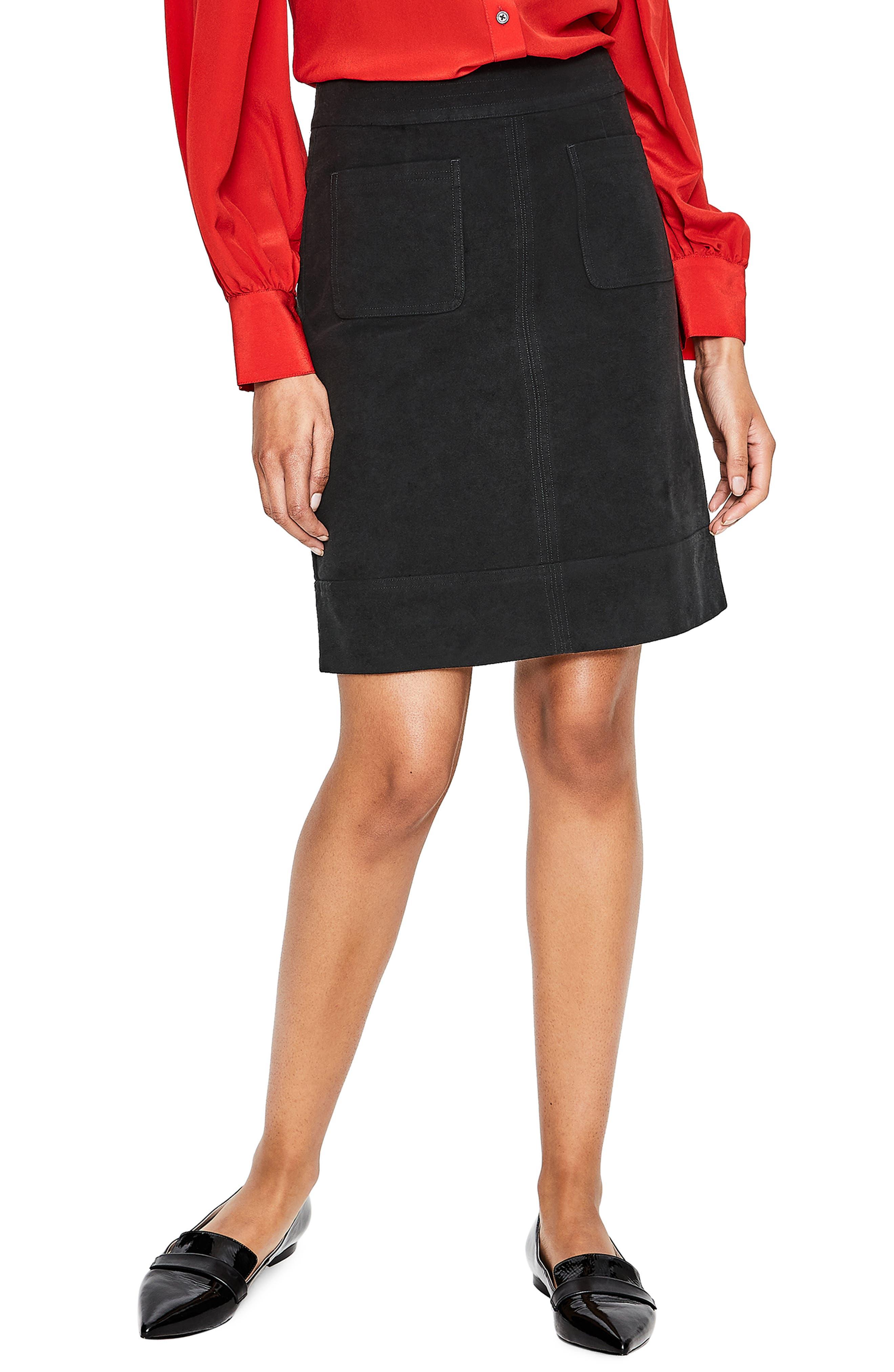 BODEN,                             Dorchester Patch Pocket Stretch Cotton Miniskirt,                             Main thumbnail 1, color,                             001