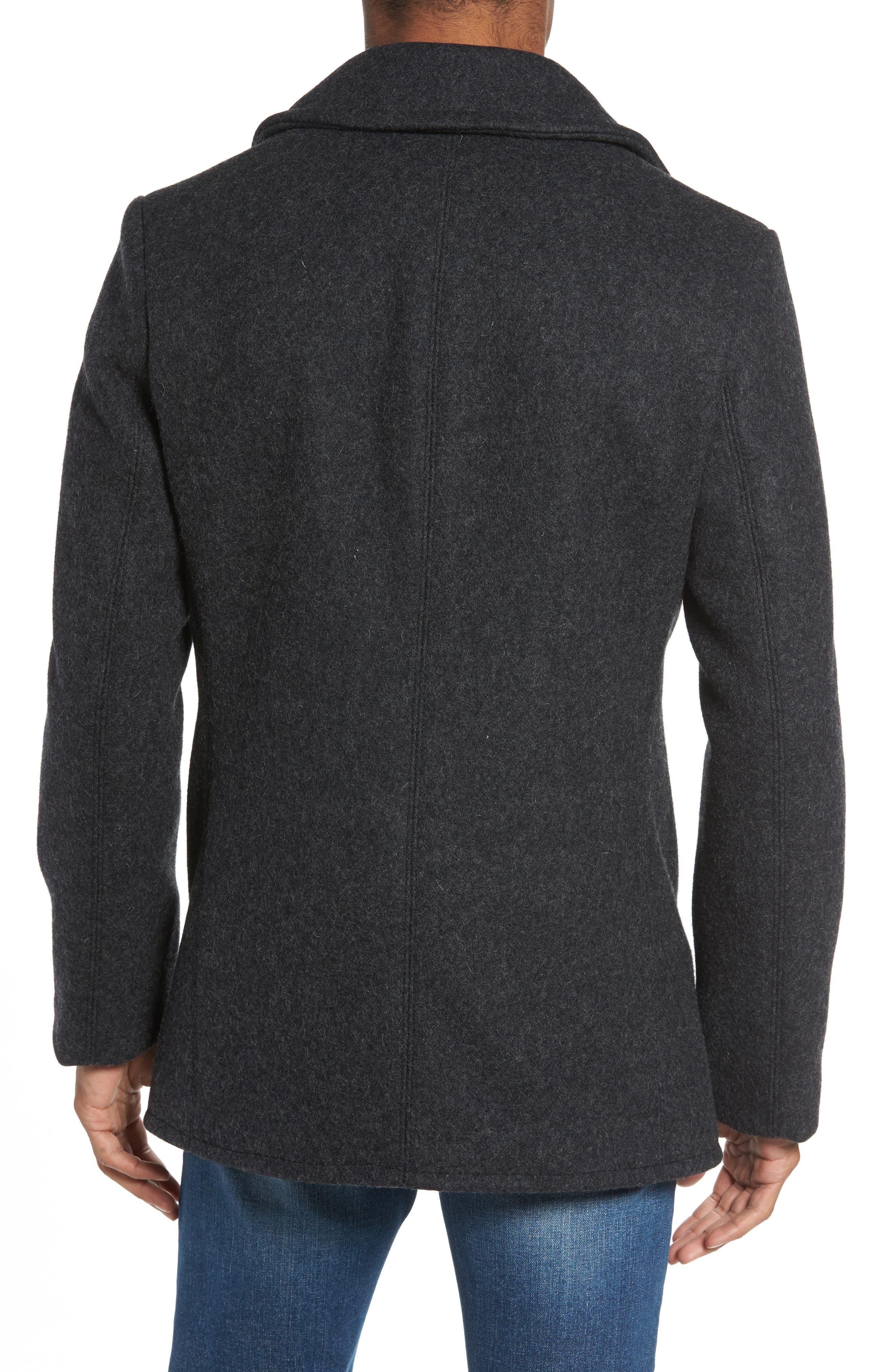 Slim Fit Melton Wool Blend Peacoat,                             Alternate thumbnail 2, color,                             022