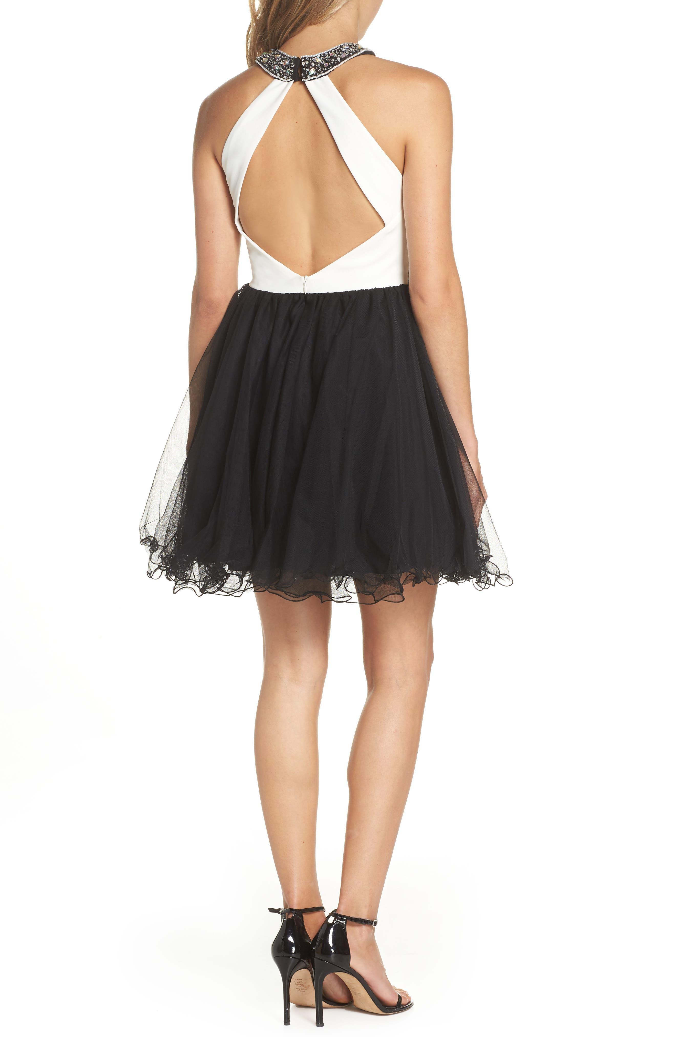 Embellished Colorblock Skater Dress,                             Alternate thumbnail 2, color,                             WHITE/ BLACK