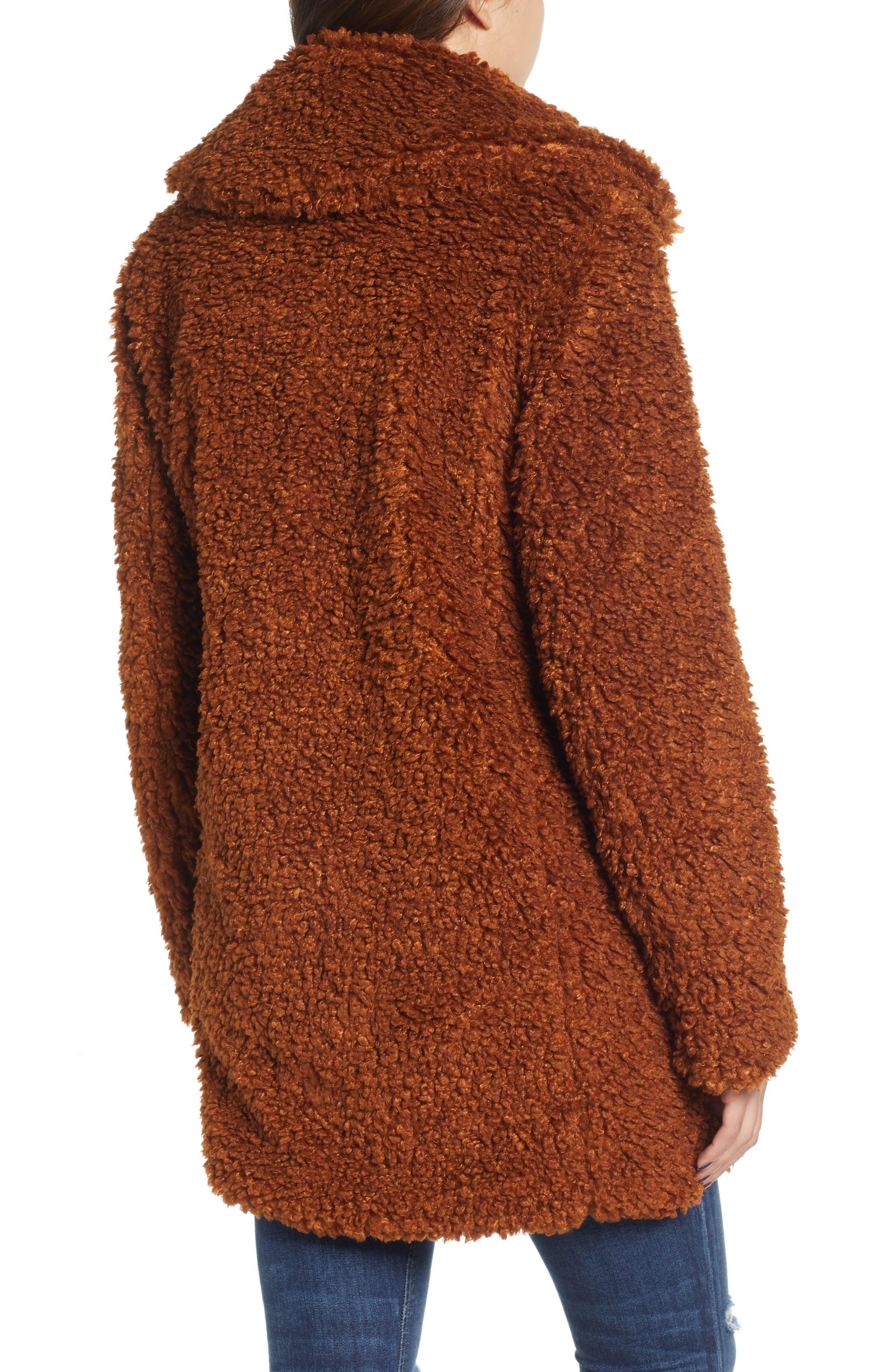 Faux Shearling Coat,                             Alternate thumbnail 2, color,                             RUST