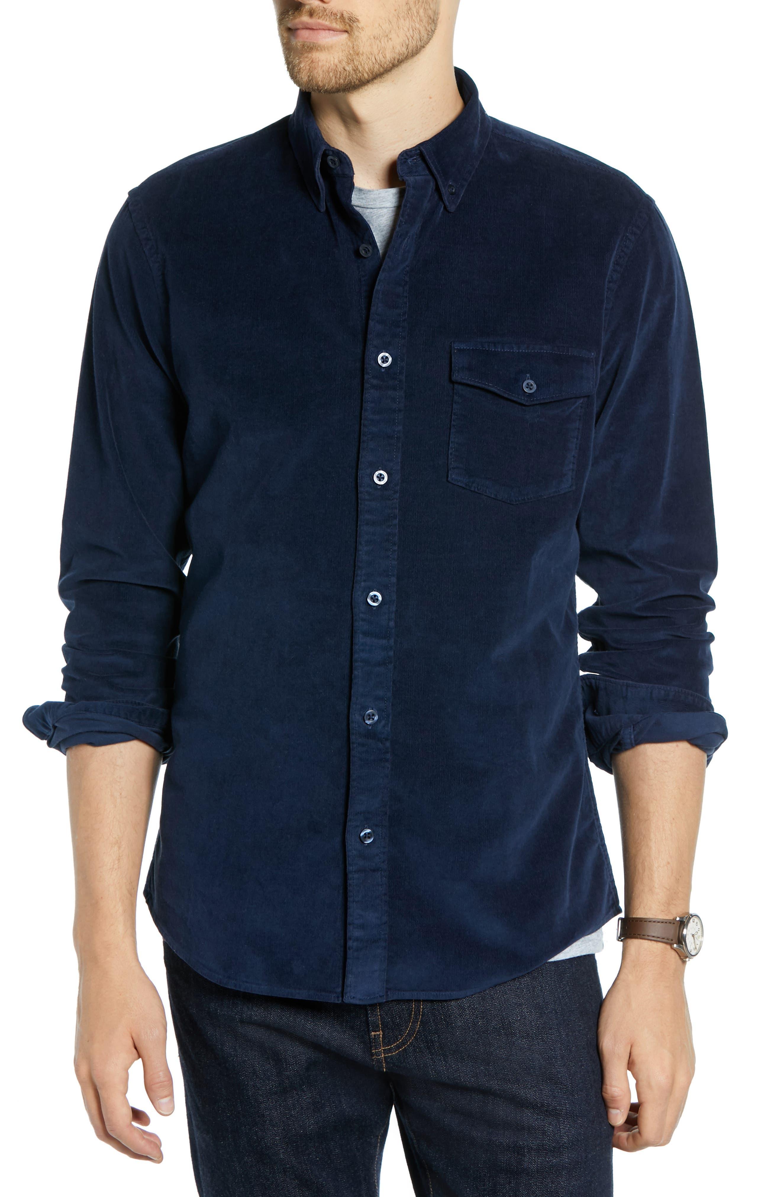 Ivy Trim Fit Corduroy Sport Shirt,                         Main,                         color, NAVY NIGHT