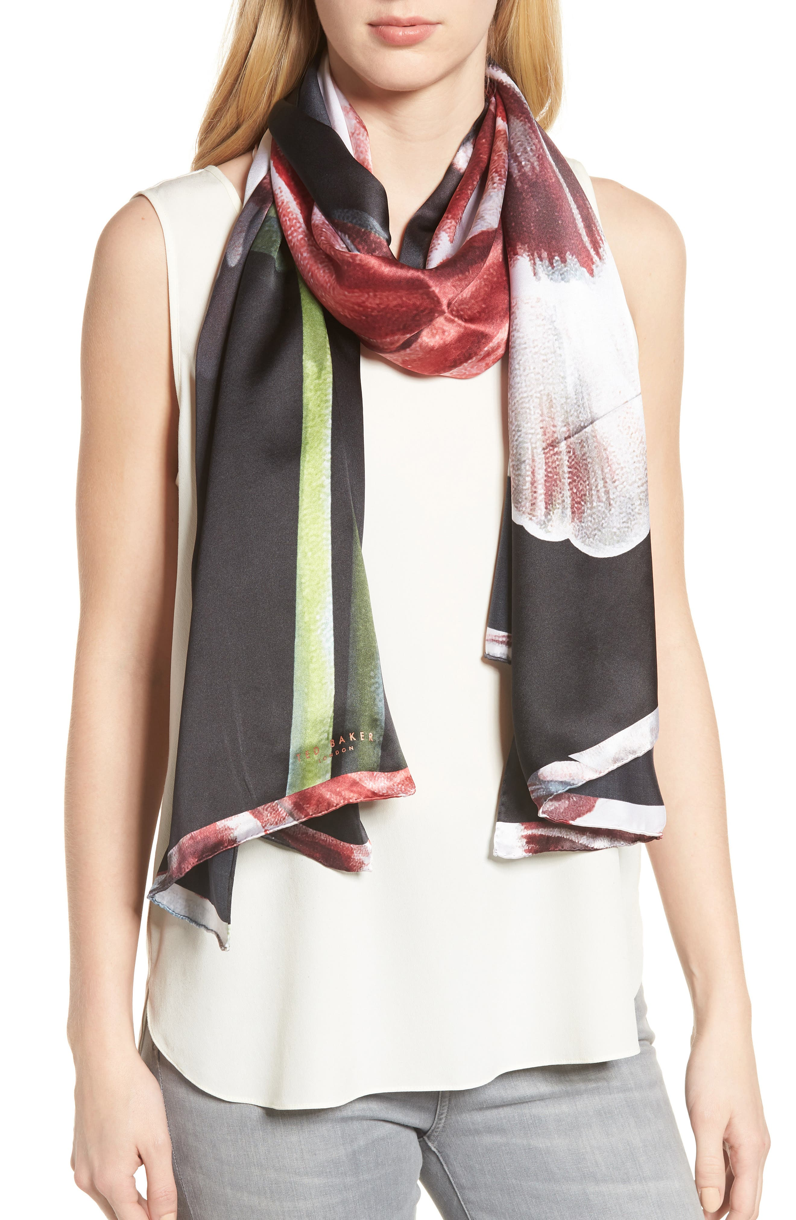TED BAKER LONDON,                             Tranquility Long Silk Scarf,                             Main thumbnail 1, color,                             001