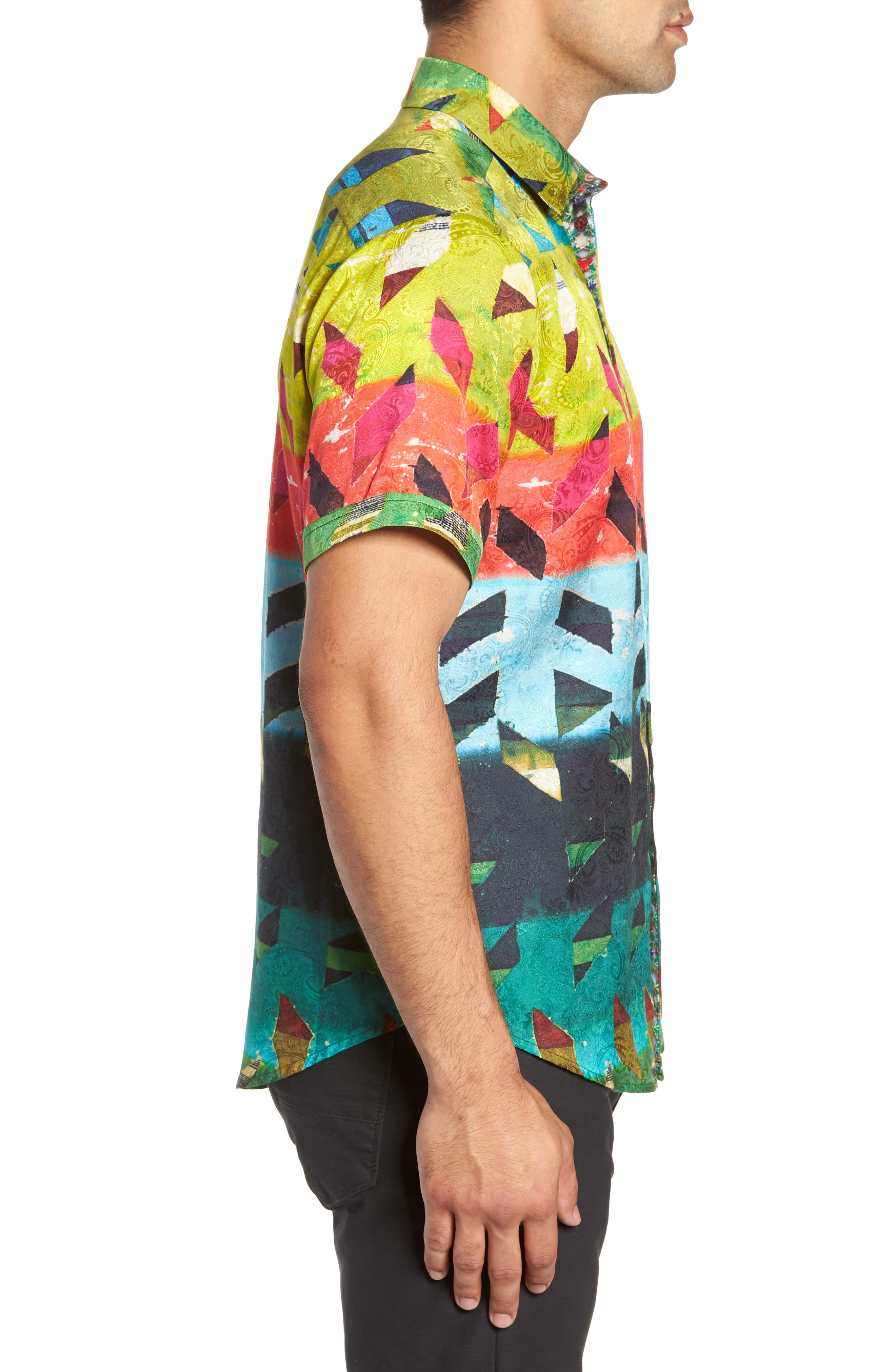 Sharpe Classic Fit Silk Blend Sport Shirt,                             Alternate thumbnail 4, color,                             MULTI