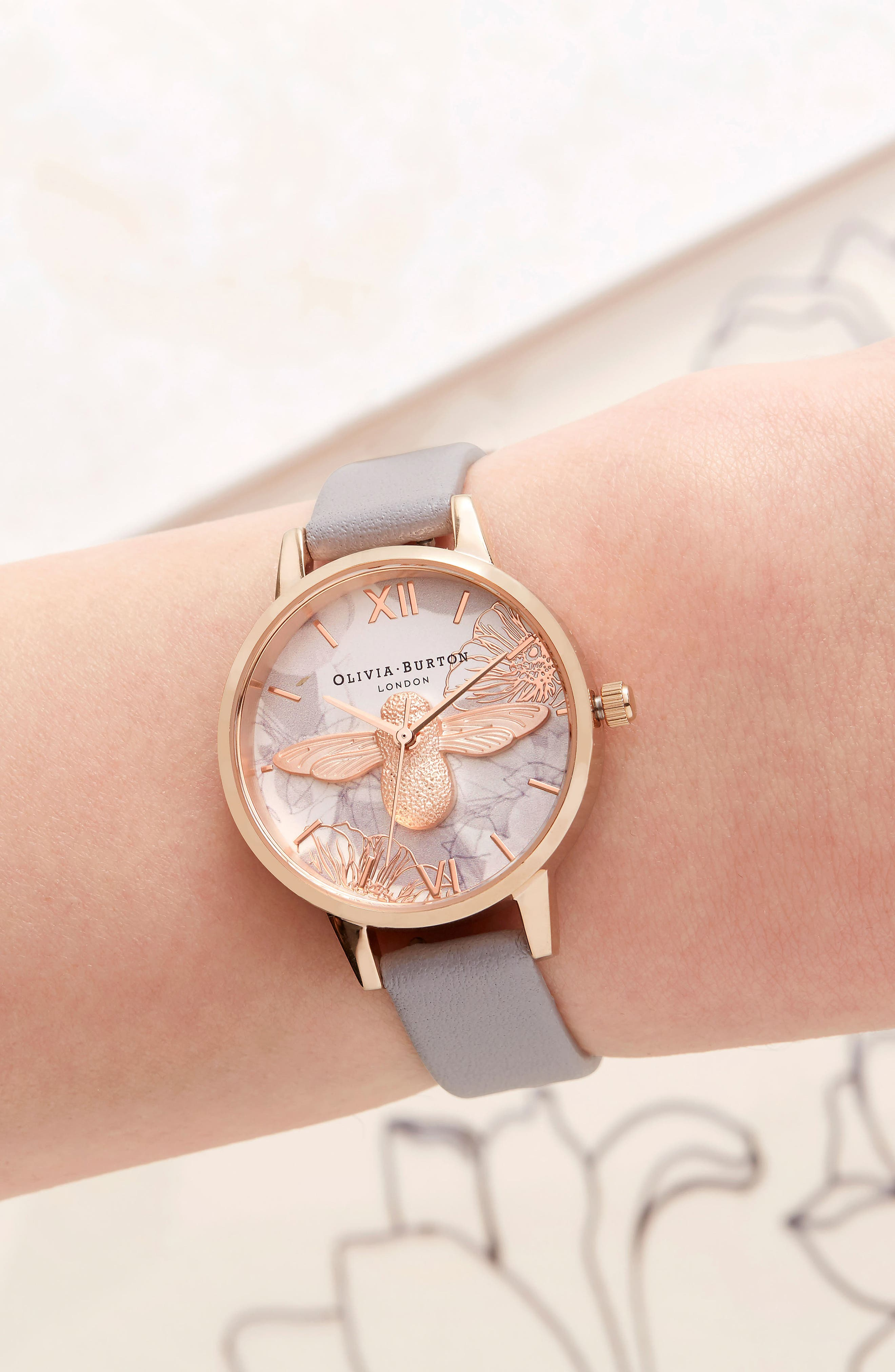 Abstract Florals Leather Strap Watch, 30mm,                             Alternate thumbnail 2, color,                             GREY LILAC/ WHITE/ ROSE GOLD