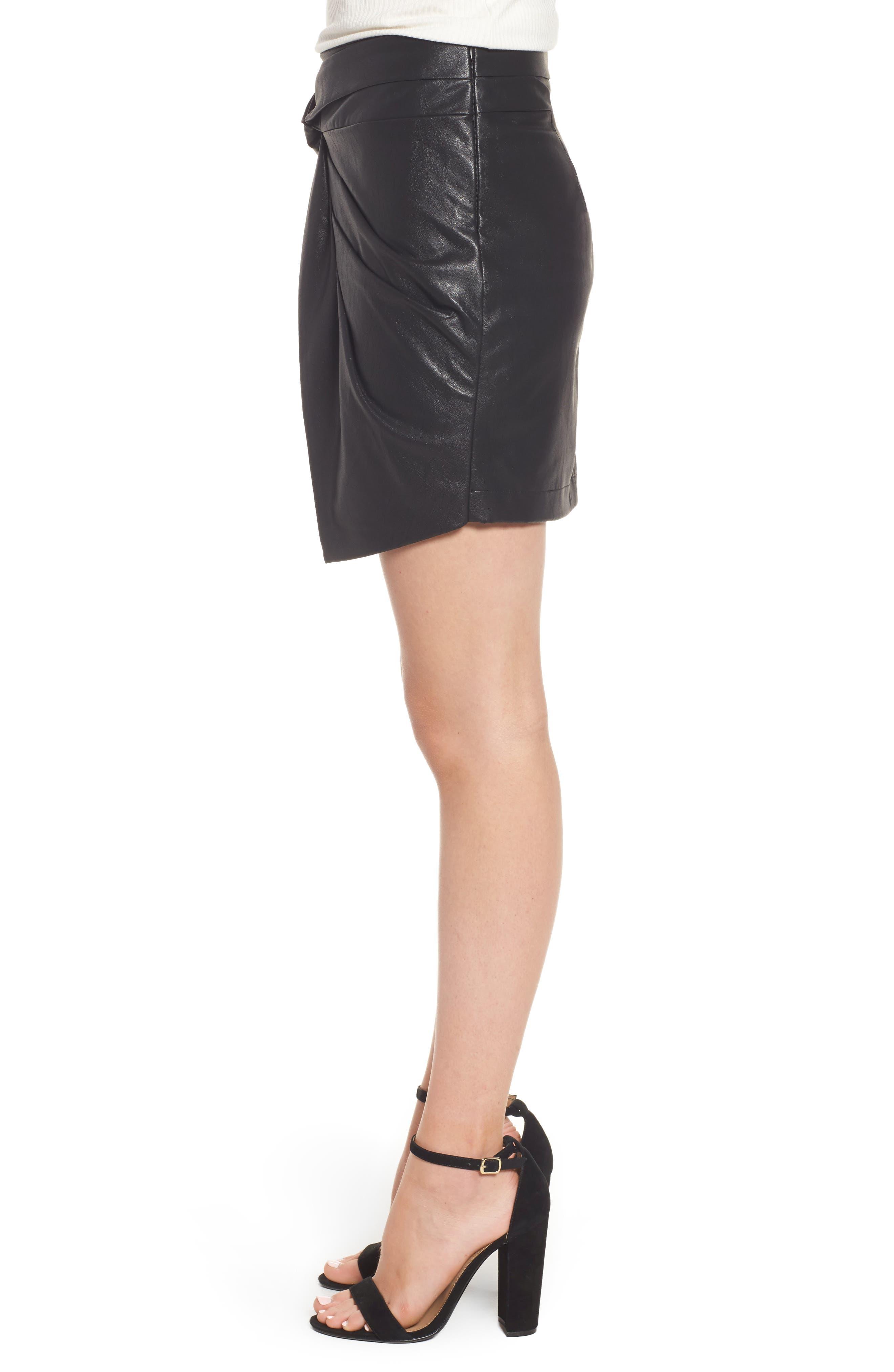 Faux Leather Miniskirt,                             Alternate thumbnail 3, color,                             001
