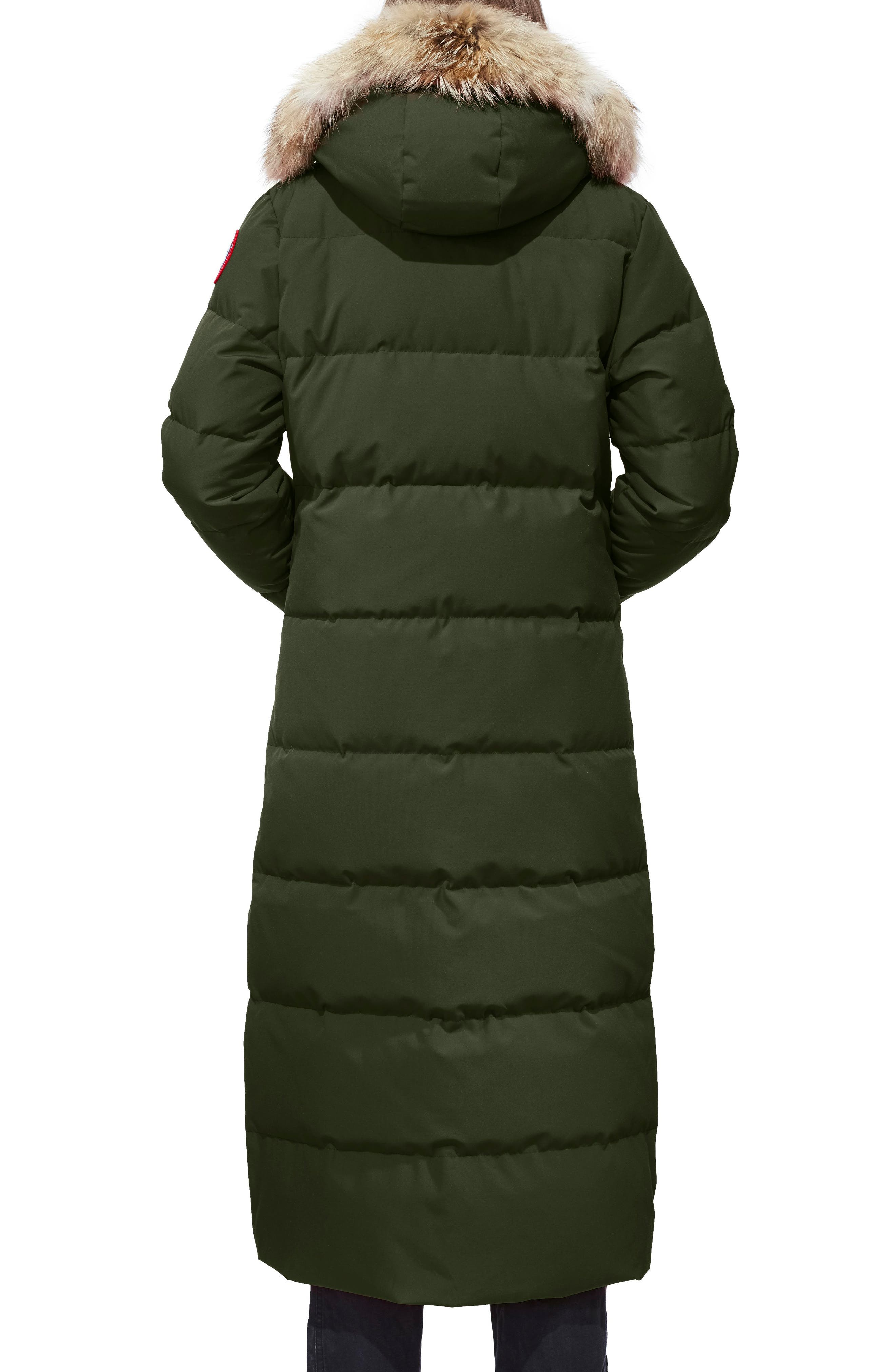 Mystique Regular Fit Down Parka with Genuine Coyote Fur Trim,                             Alternate thumbnail 2, color,                             MILITARY GREEN