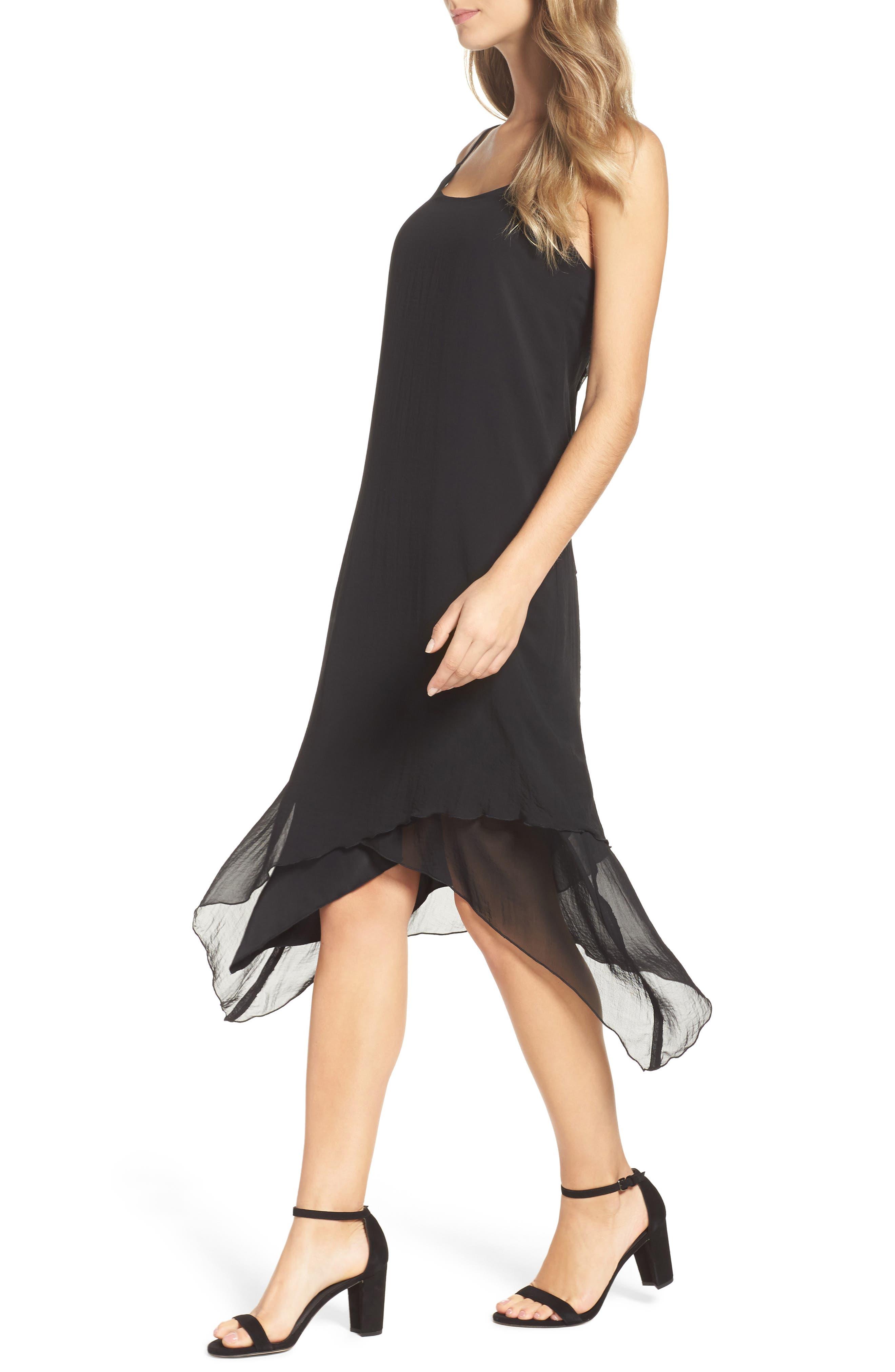 Chiffon Midi Dress,                             Alternate thumbnail 4, color,                             001