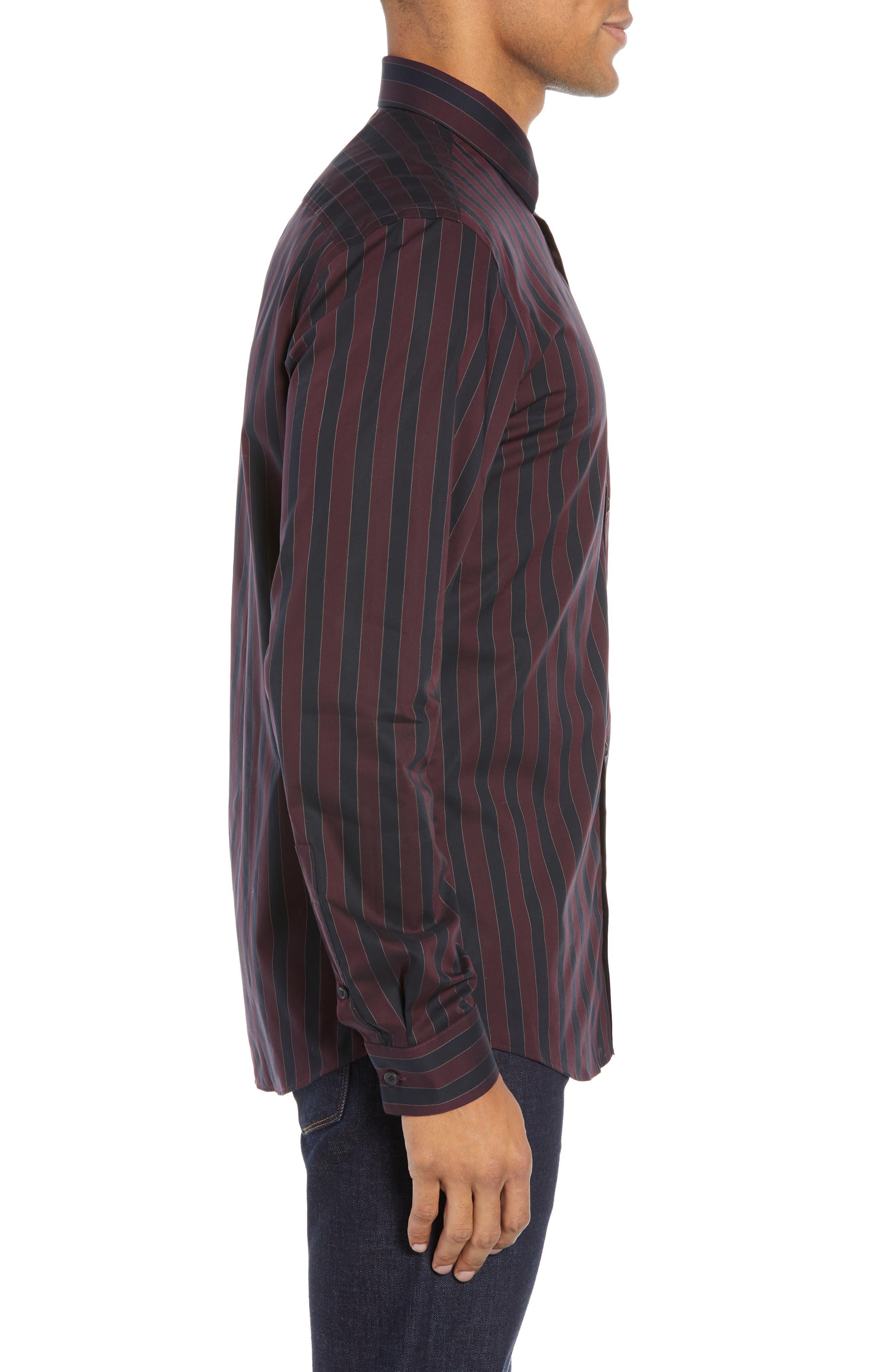 Trim Fit Non-Iron Stripe Sport Shirt,                             Alternate thumbnail 4, color,                             938