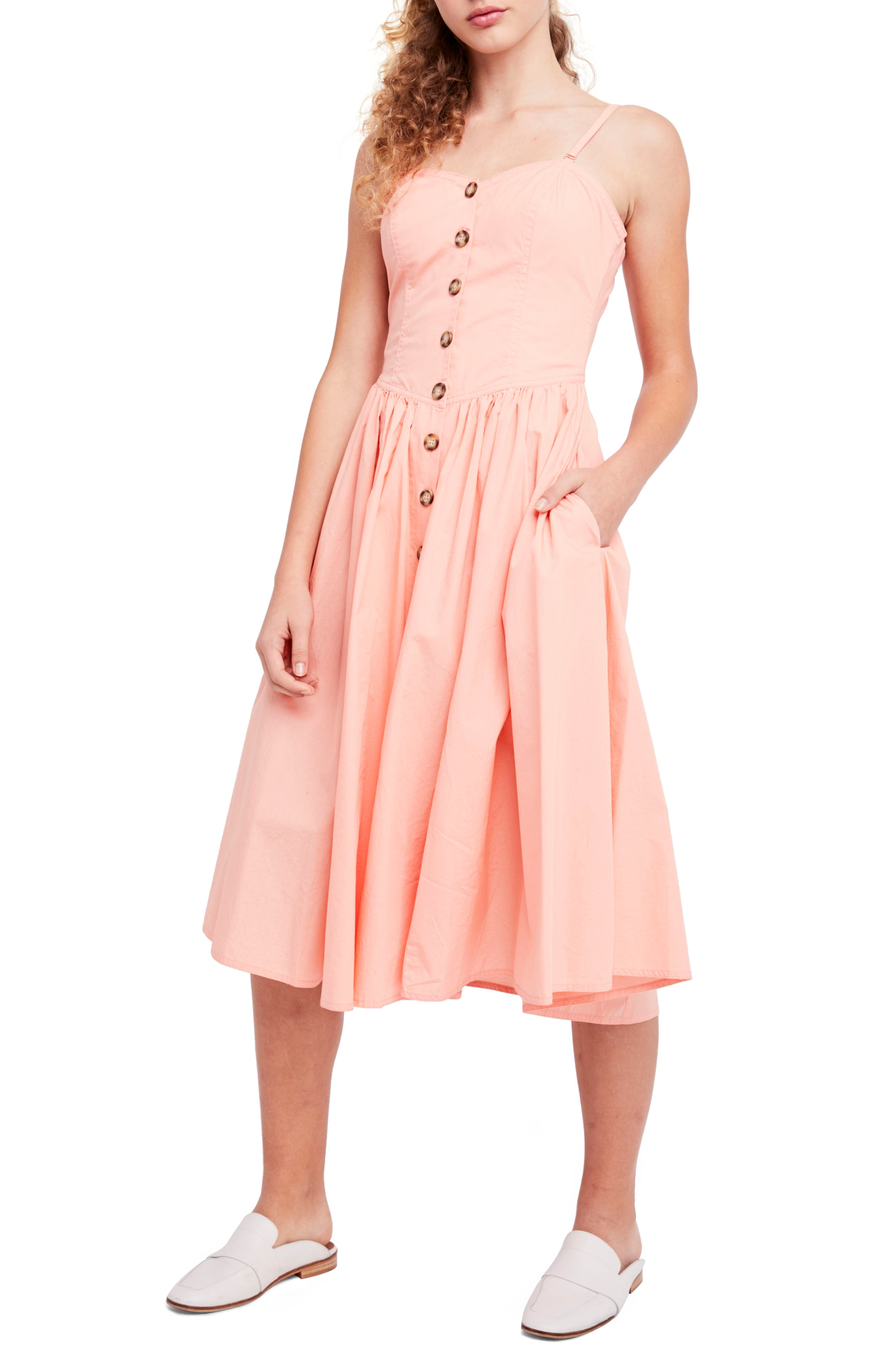 Perfect Peach Poplin Midi Dress,                             Alternate thumbnail 15, color,