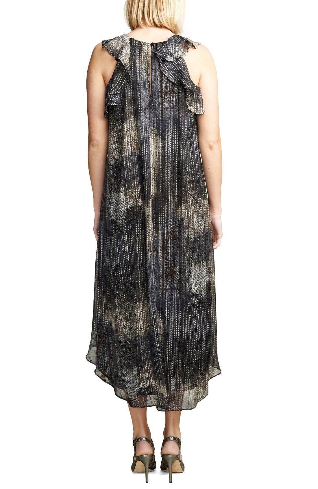Ruffle Chiffon High/Low Maternity Dress,                             Alternate thumbnail 2, color,                             METALLIC LUREX PRINT