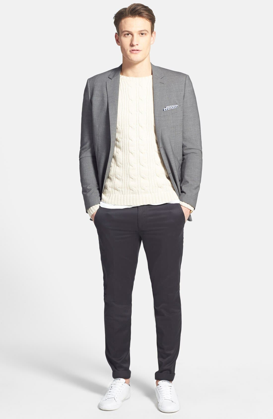 'Weekday Warriors' Non-Iron Tailored Cotton Chinos,                             Alternate thumbnail 9, color,                             TUESDAY BLACKS