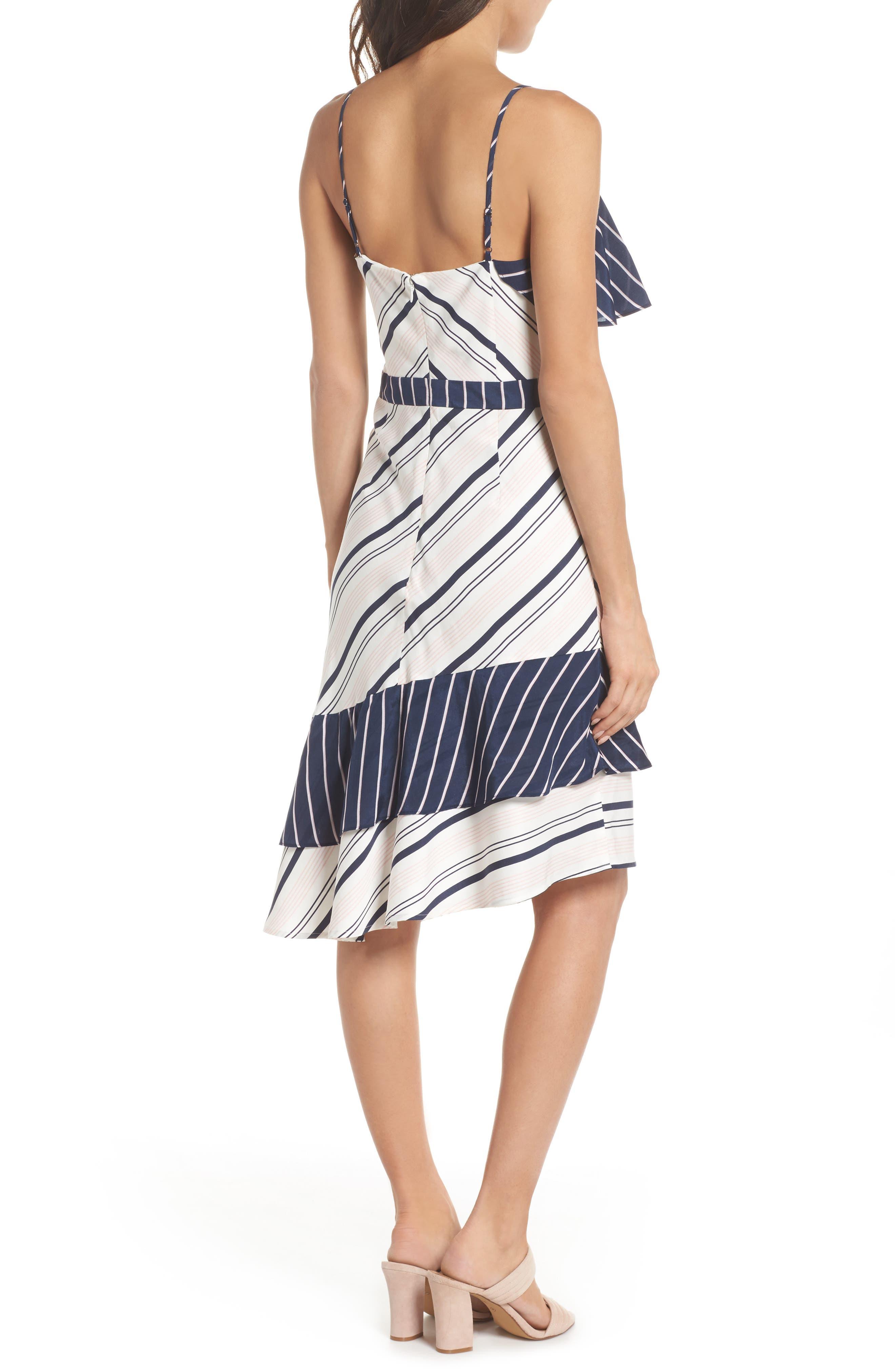 Mix Stripe Asymmetrical Dress,                             Alternate thumbnail 2, color,                             100